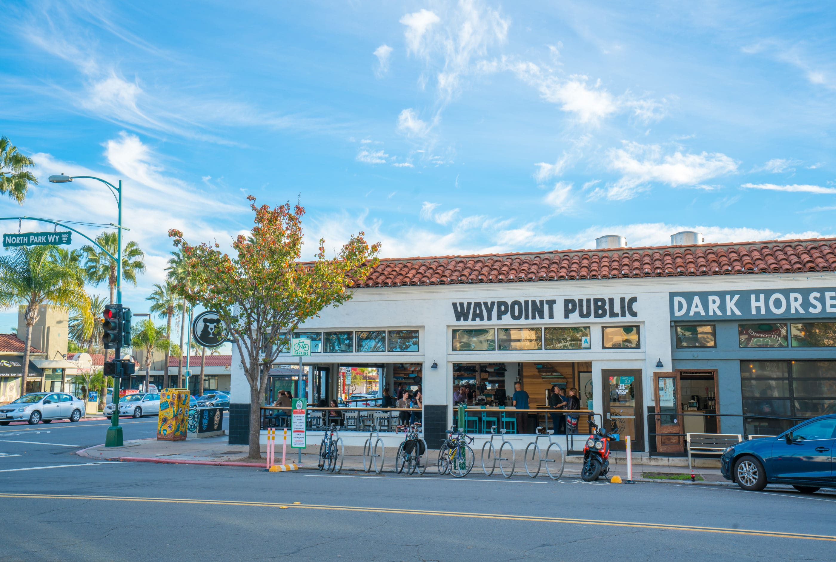 The exterior view of Waypoint Public from across the street.