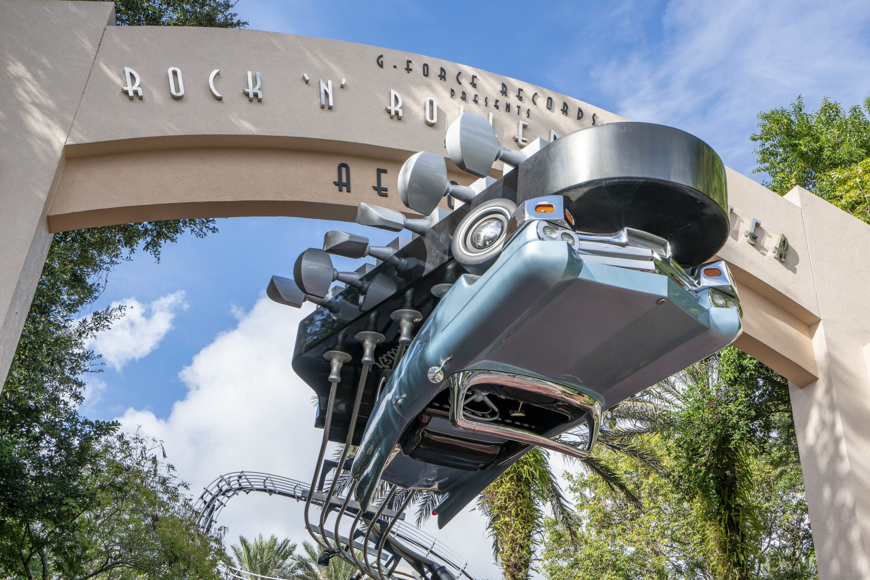 The upside-down car at the entrance to Rock 'n' Roller Coaster Starring Aerosmith at Disney's Hollywood Studios.