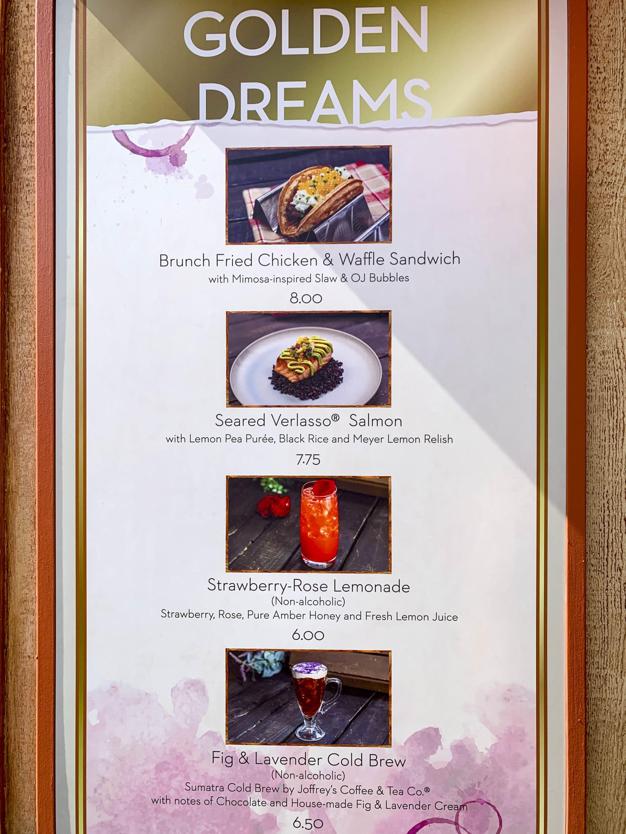 Le menu affiché sur le kiosque Golden Dreams Marketplace.