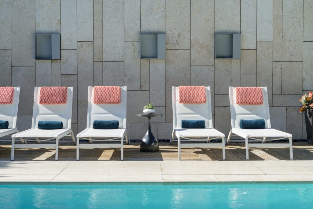 Best San Diego boutique hotels: Lounge chairs line the pool at Hotel Palomar.