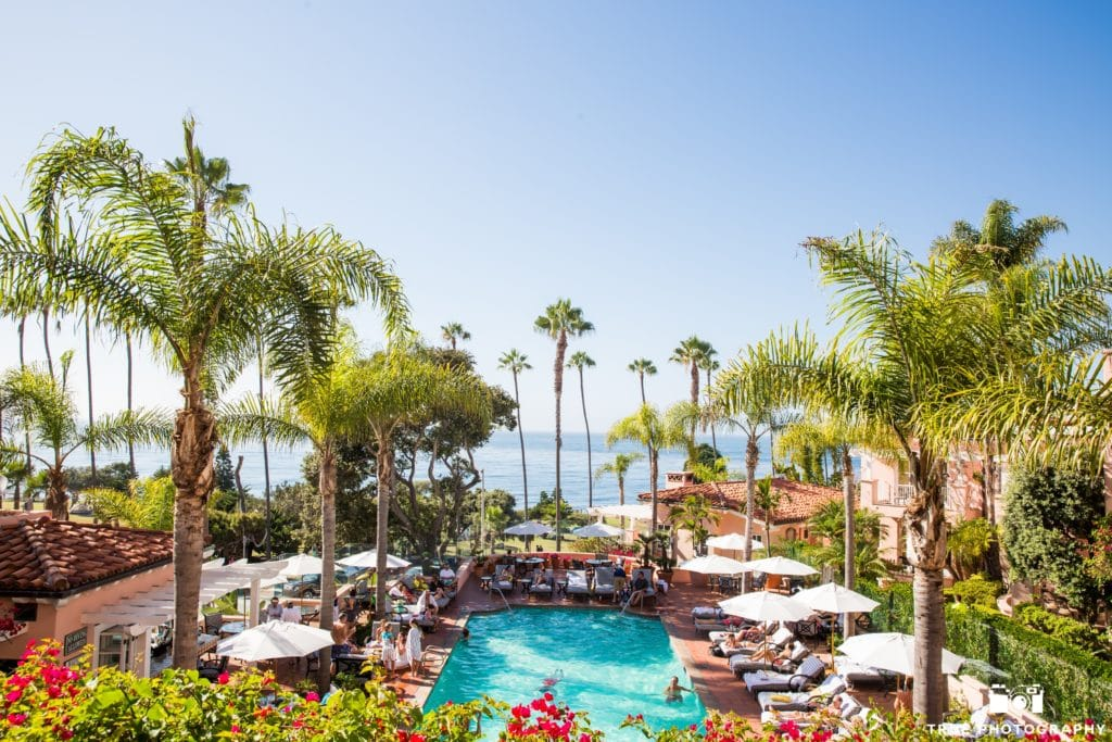 The outdoor pool at La Valencia Hotel overlooking the Pacific Ocean.