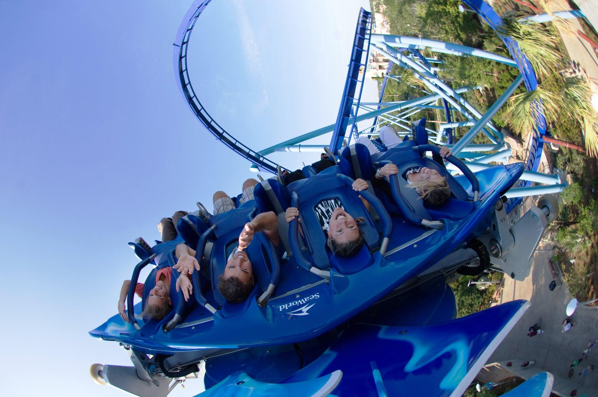 Riders enjoy Manta roller coaster at SeaWorld Orlando.