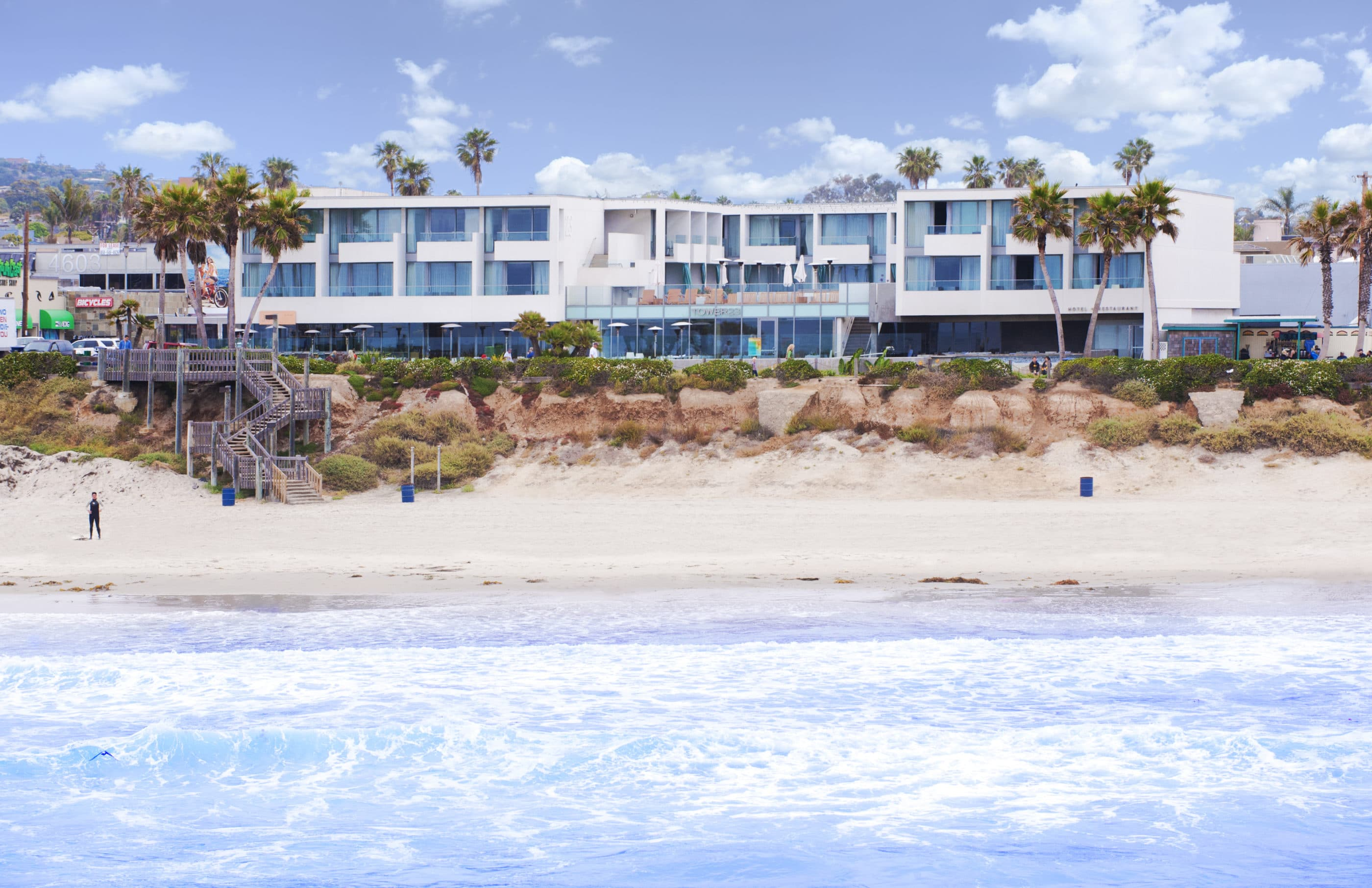 View from the ocean of the exterior of Tower23, a Pacific Beach boutique hotel.