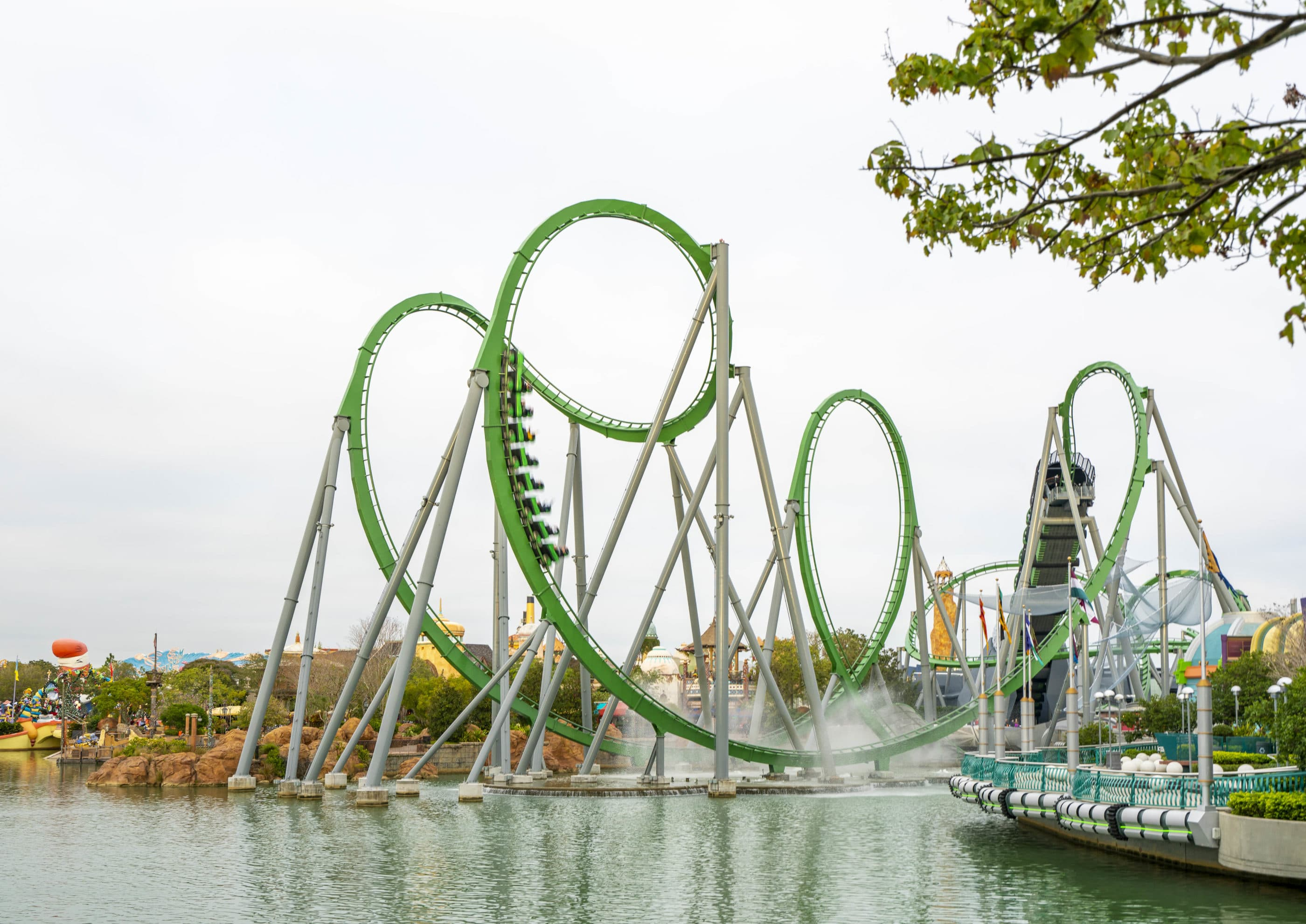 The Hulk roller coaster on its green track at Universal Islands of Adventure in Orlando.