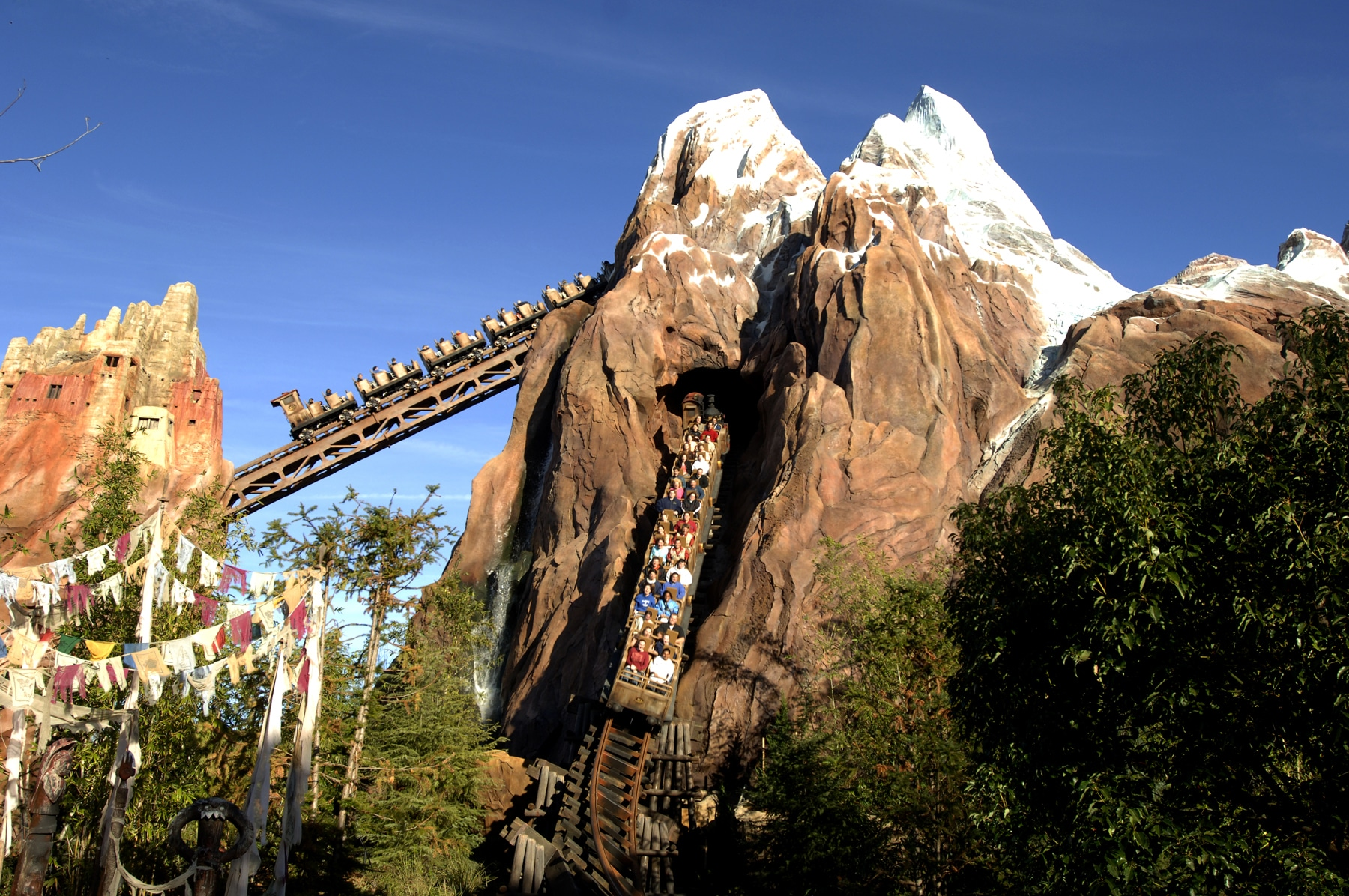 The Expedition Everest roller coaster at Disney's Animal Kingdom heads down the mountain.