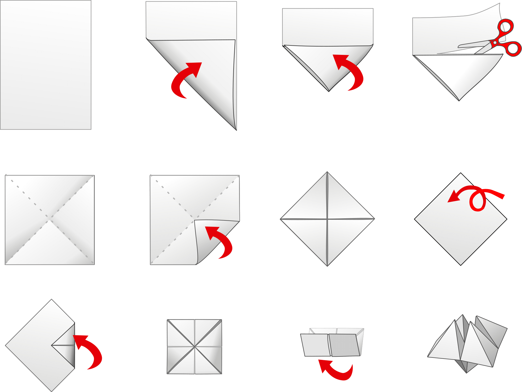 A step-by-step diagram for how to make a paper or origami fortune teller that is so easy kids can follow it.