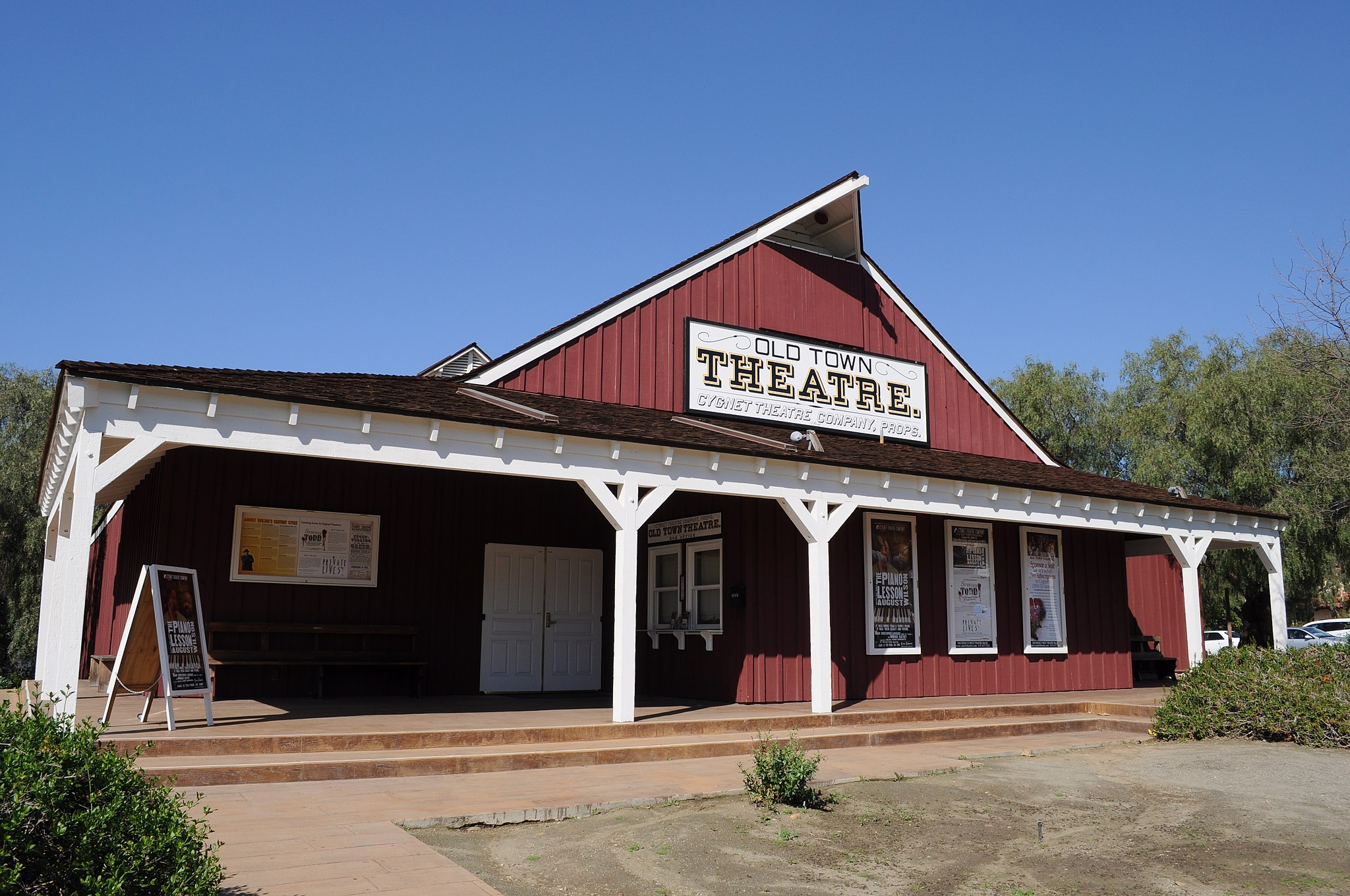 The Old Town Theatre's red exterior. The historic building is now home to the Cygnet Theatre.