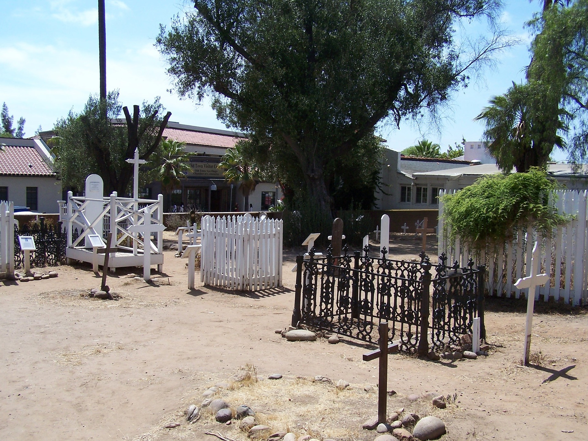 Outdoor grave sites at El Camp Santo Cemetery.