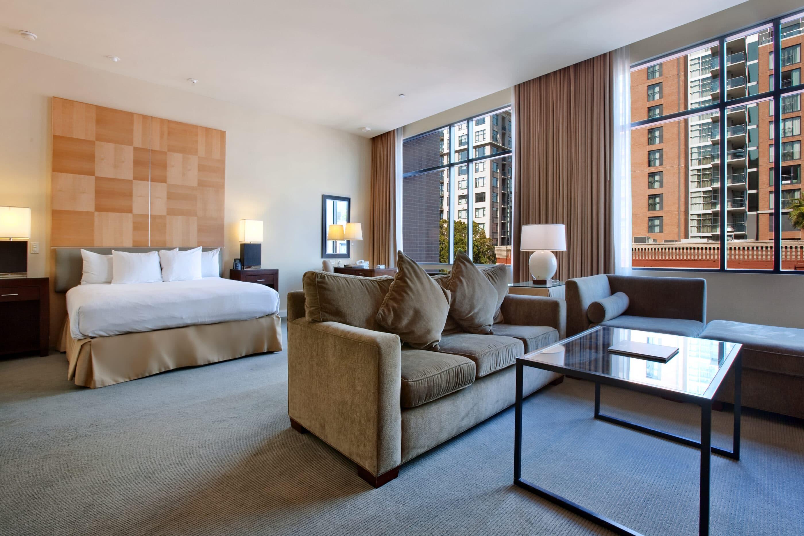 King guest room interior at Hilton San Diego Gaslamp