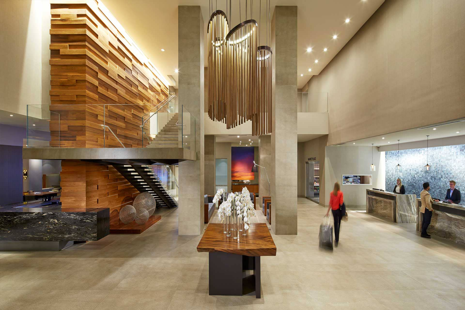 The lobby of Hilton San Diego Mission Valley hotel.