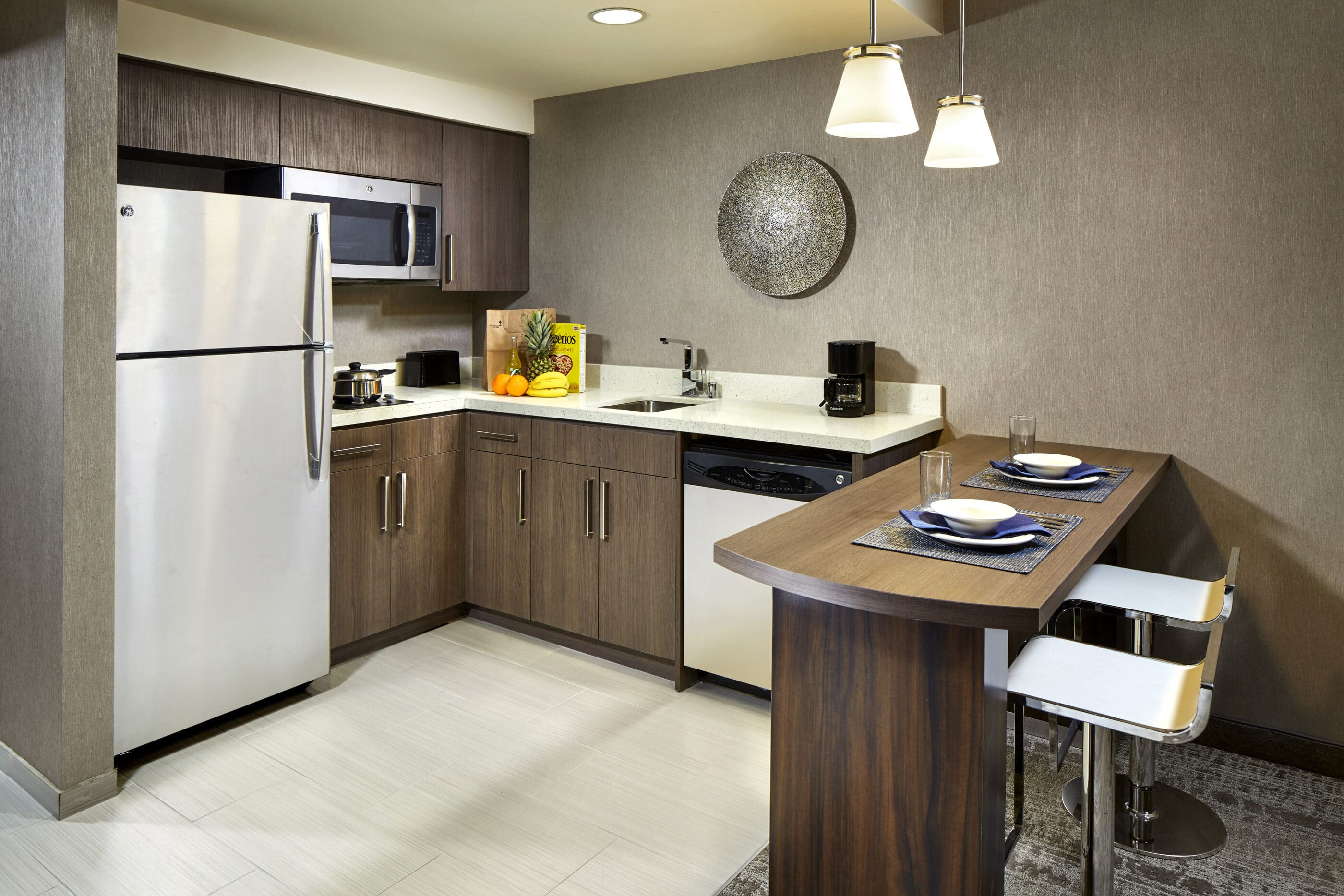 The full kitchen inside Homewood Suites by Hilton San Diego Downtown Bayside