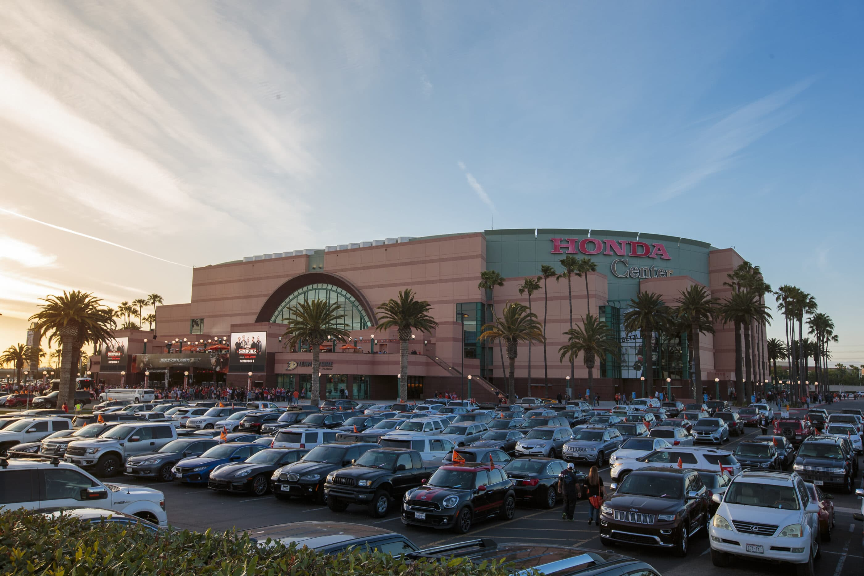 Exterior view over the parking lot to the entrance of the Honda Center in Anaheim.