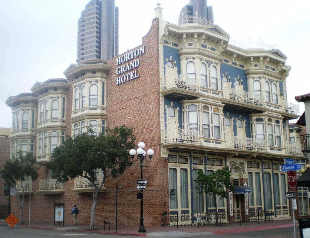 Victorian exterior of Horton Grand Hotel, one of the haunted hotels in San Diego.