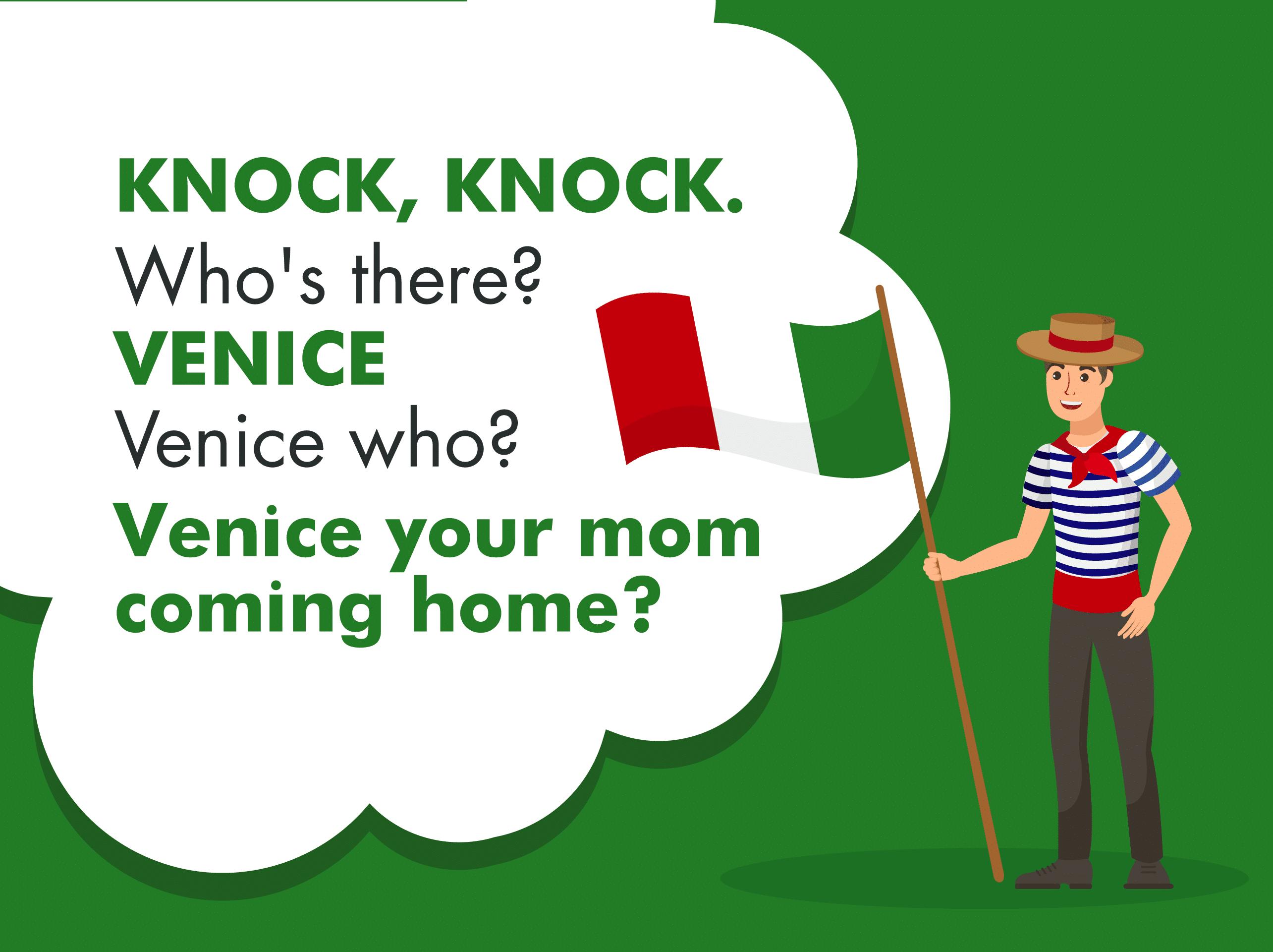A graphic illustrating a Venice knock knock joke for kids.