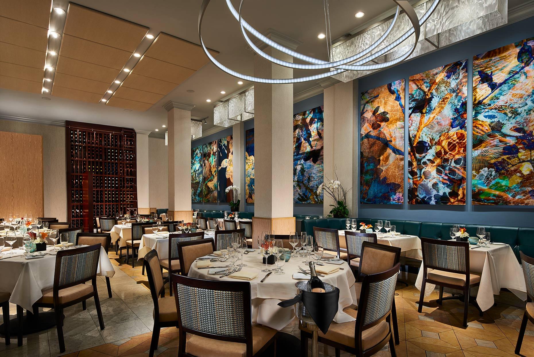 Dining room at NINE-TEN La Jolla restaurant.