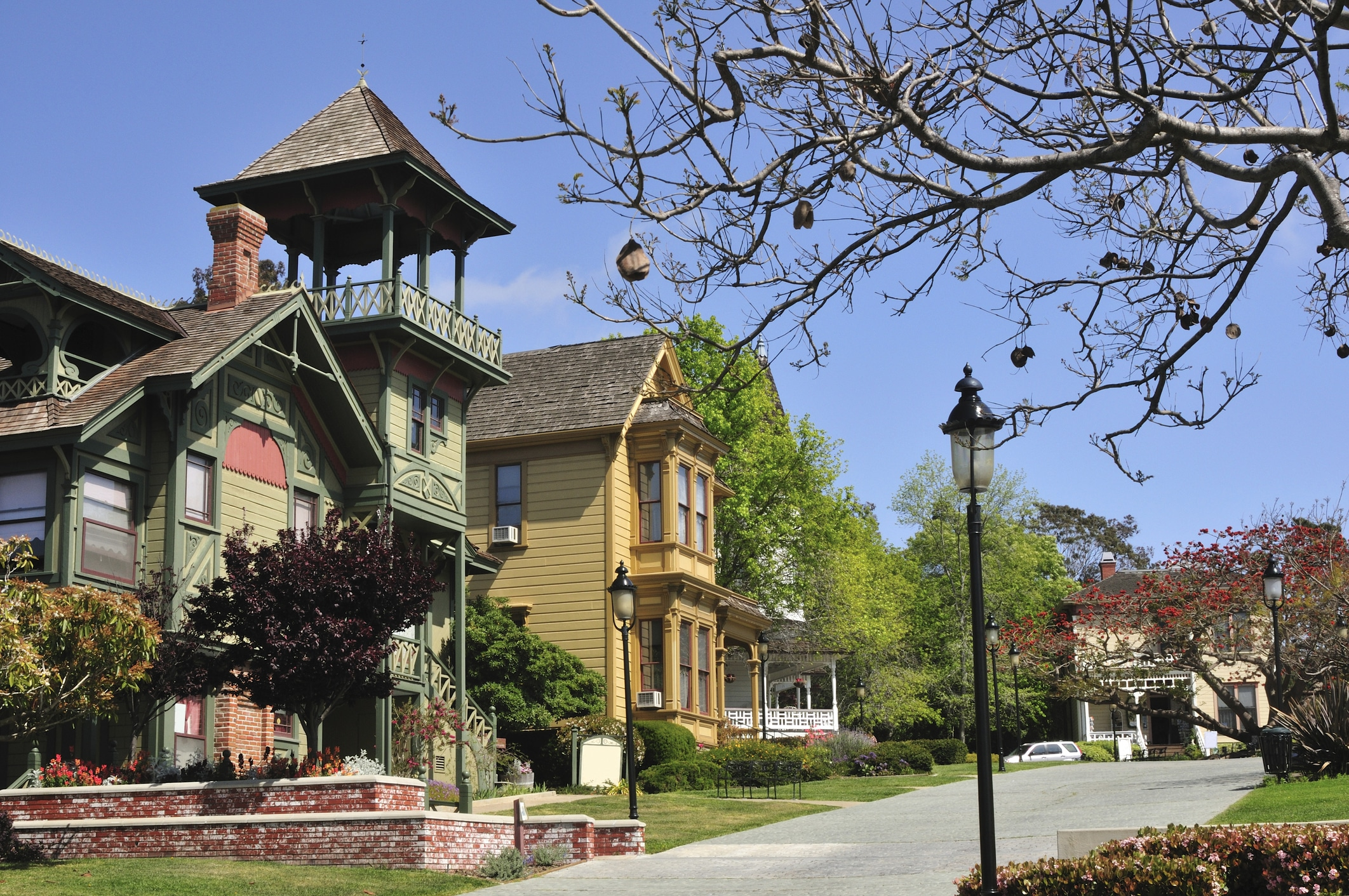 The Victorian homes inside Heritage Park, adjacent to Old Town San Diego.