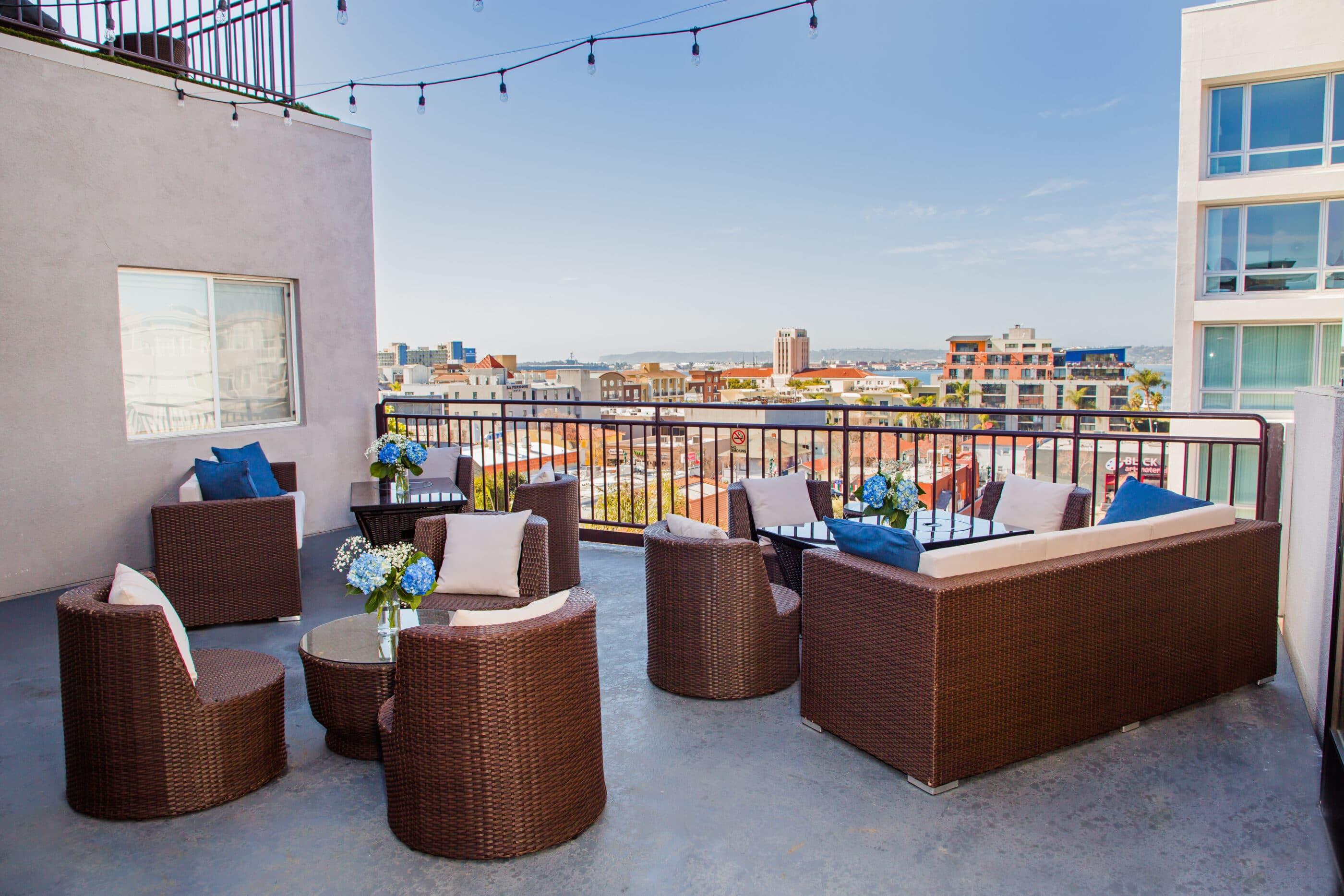 Outdoor terrace at Porto Vista Hotel overlooking Little Italy.