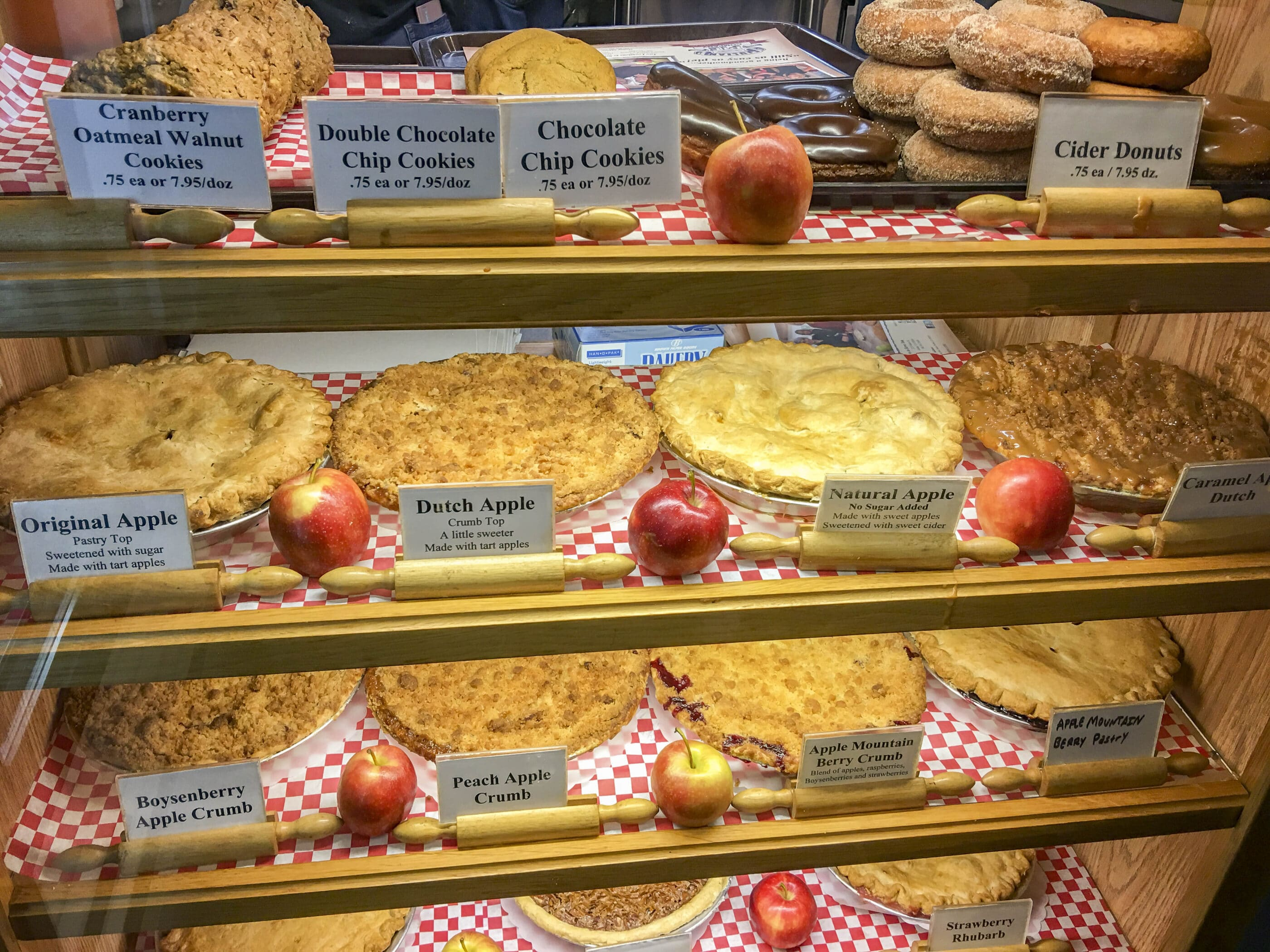Apple pies and more in a display case at Julian Pie Company.
