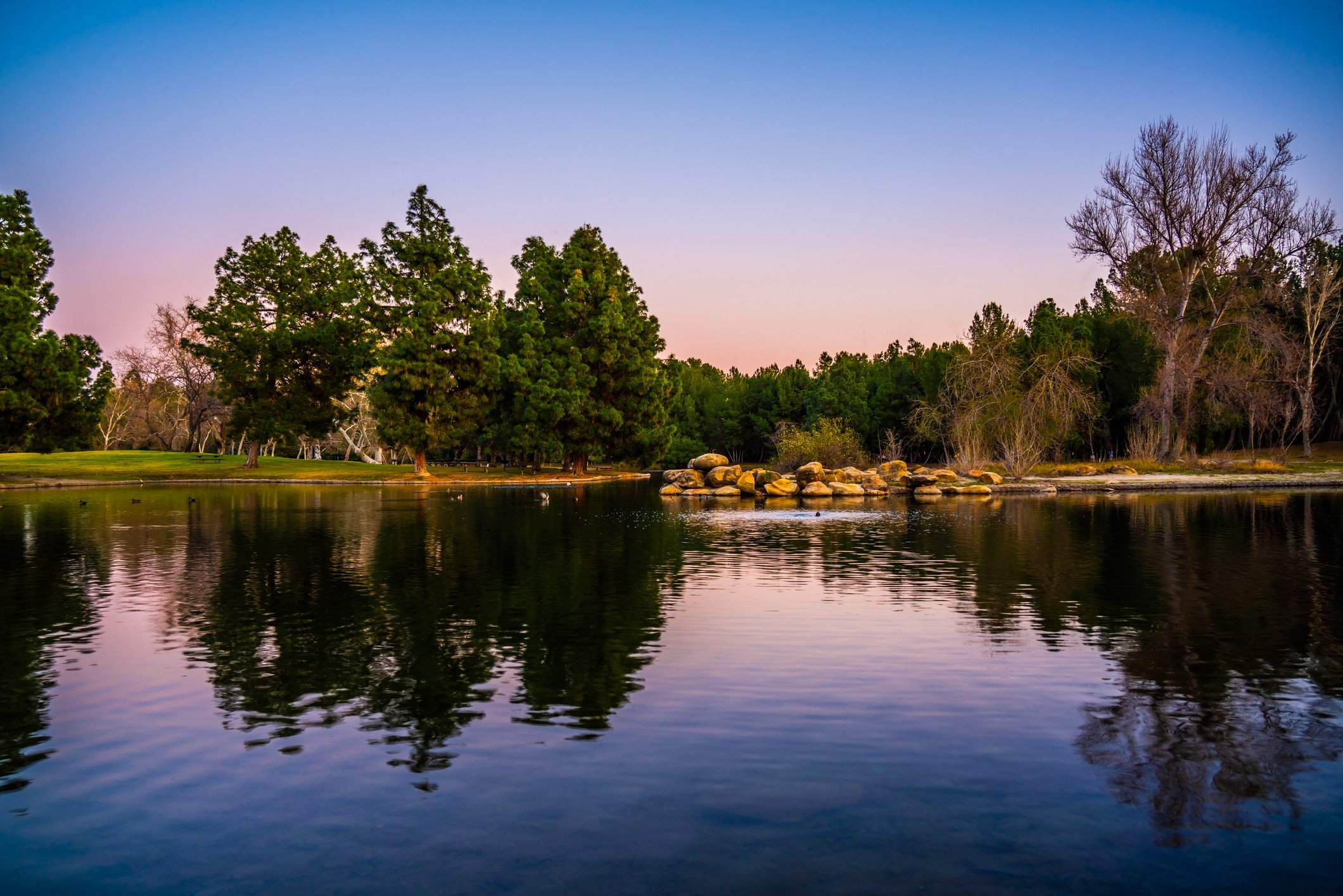 View over the lake at Yorba Regional Park in Anaheim at dusk.