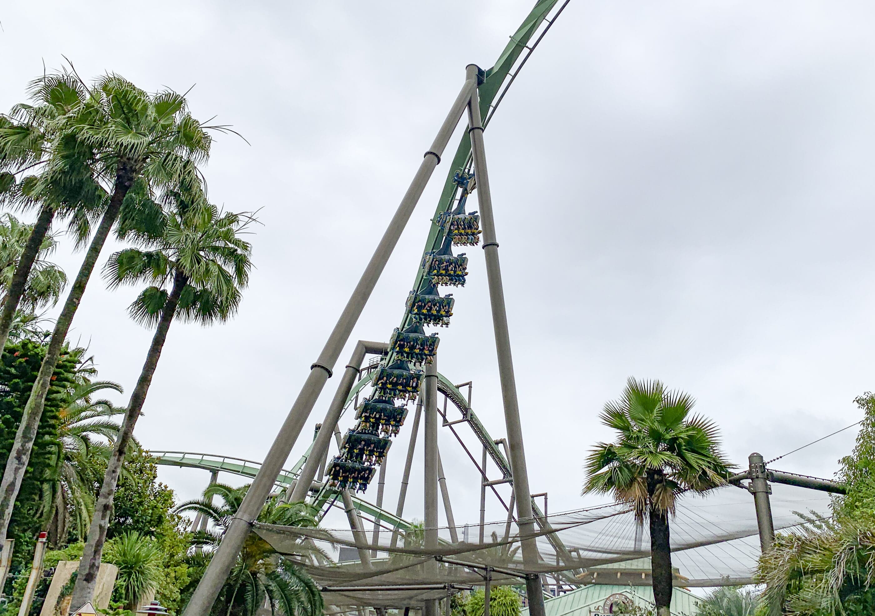 Flying Dinosaur roller coaster at Universal Studios Japan.