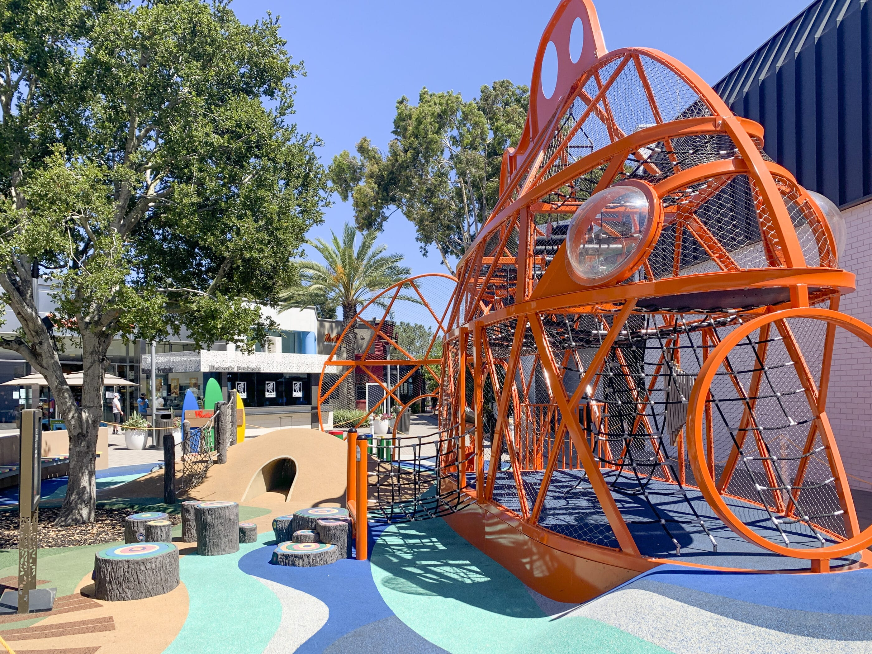 The sea creature play structure and surrounding play area for kids near Macy's at Westfield UTC mall in La Jolla.