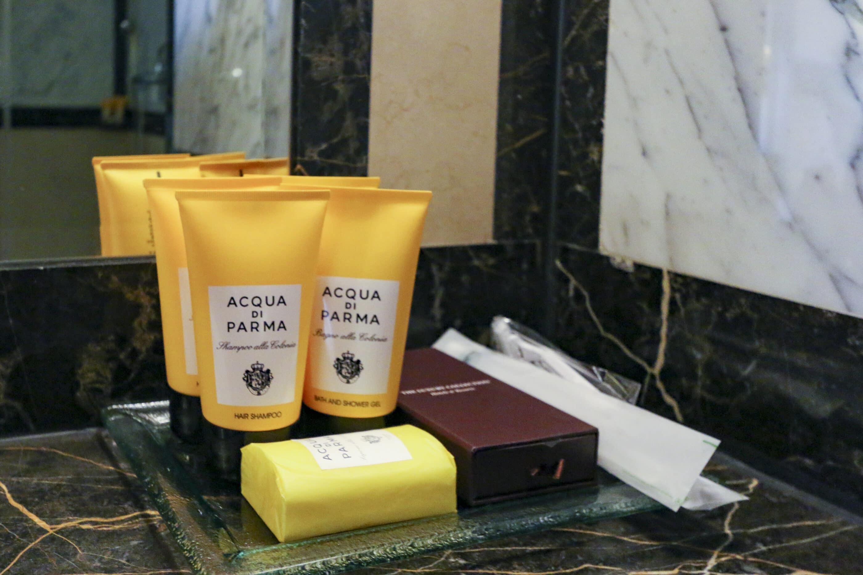 Full size Acqua di Parma bath amenities in our Deluxe Suite at Hotel Grande Bretagne Athens.
