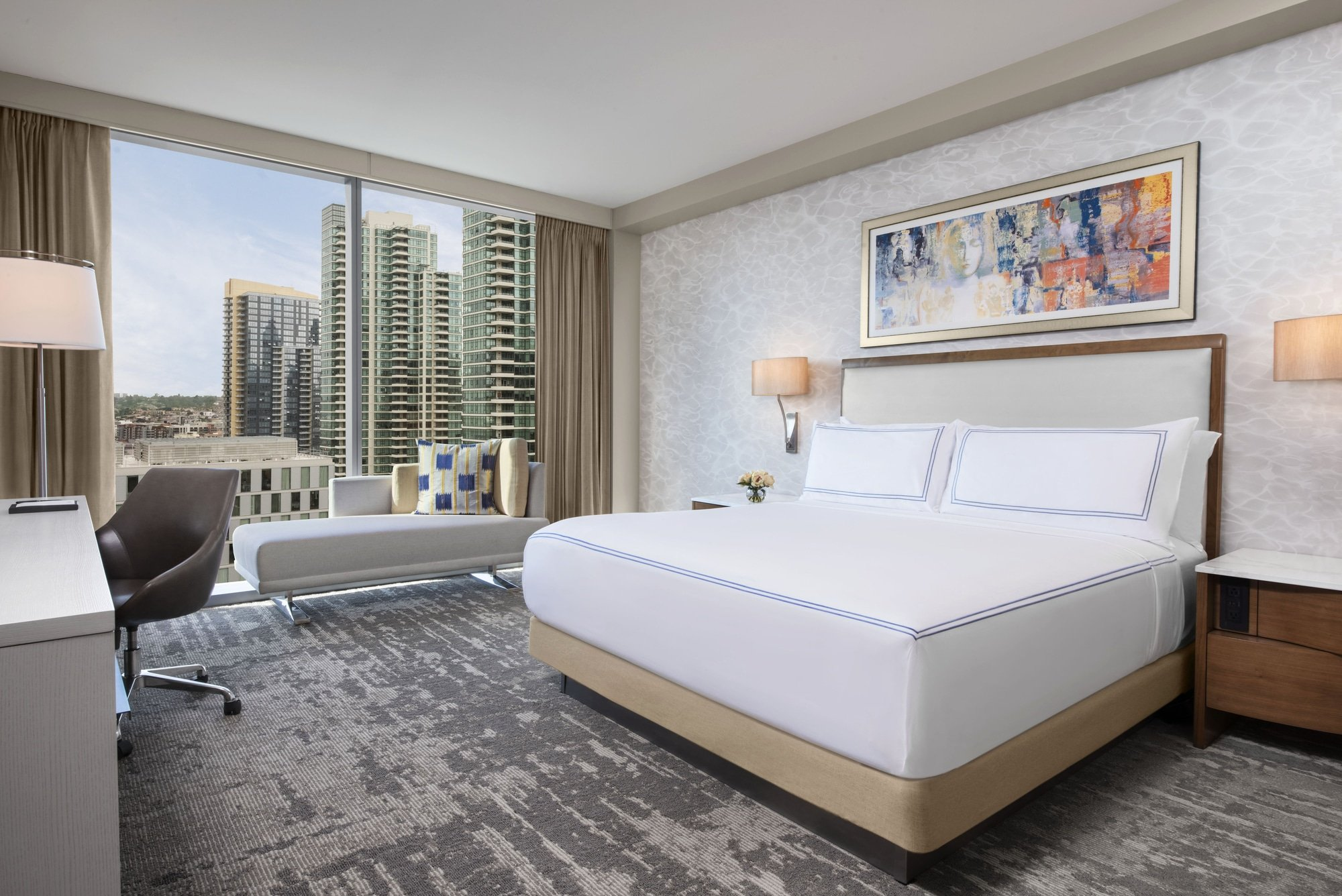 A king Club Room interior at InterContinental San Diego with a city view.