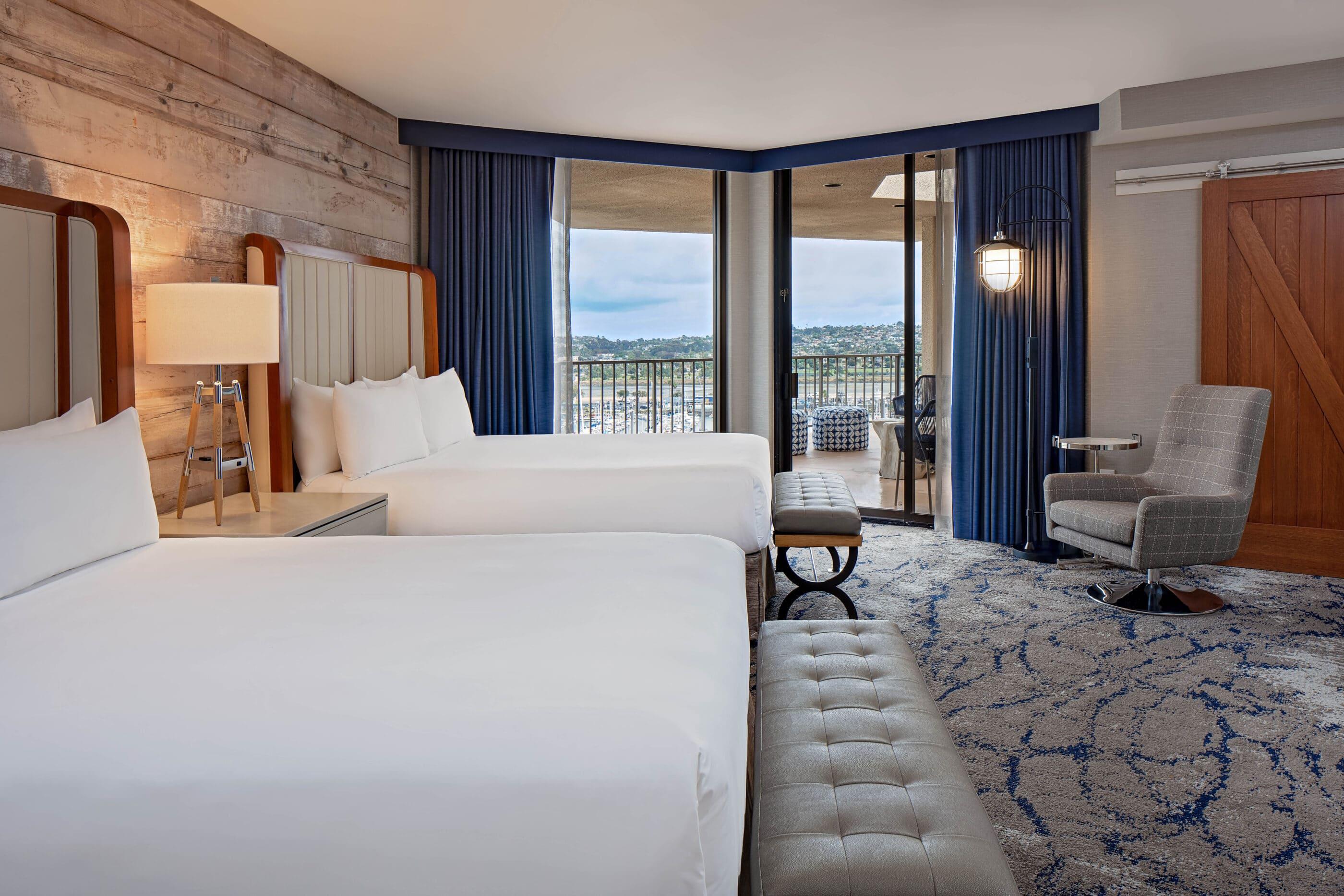 Rooftop Terrace suite double queen bedroom overlooking the large terrace.