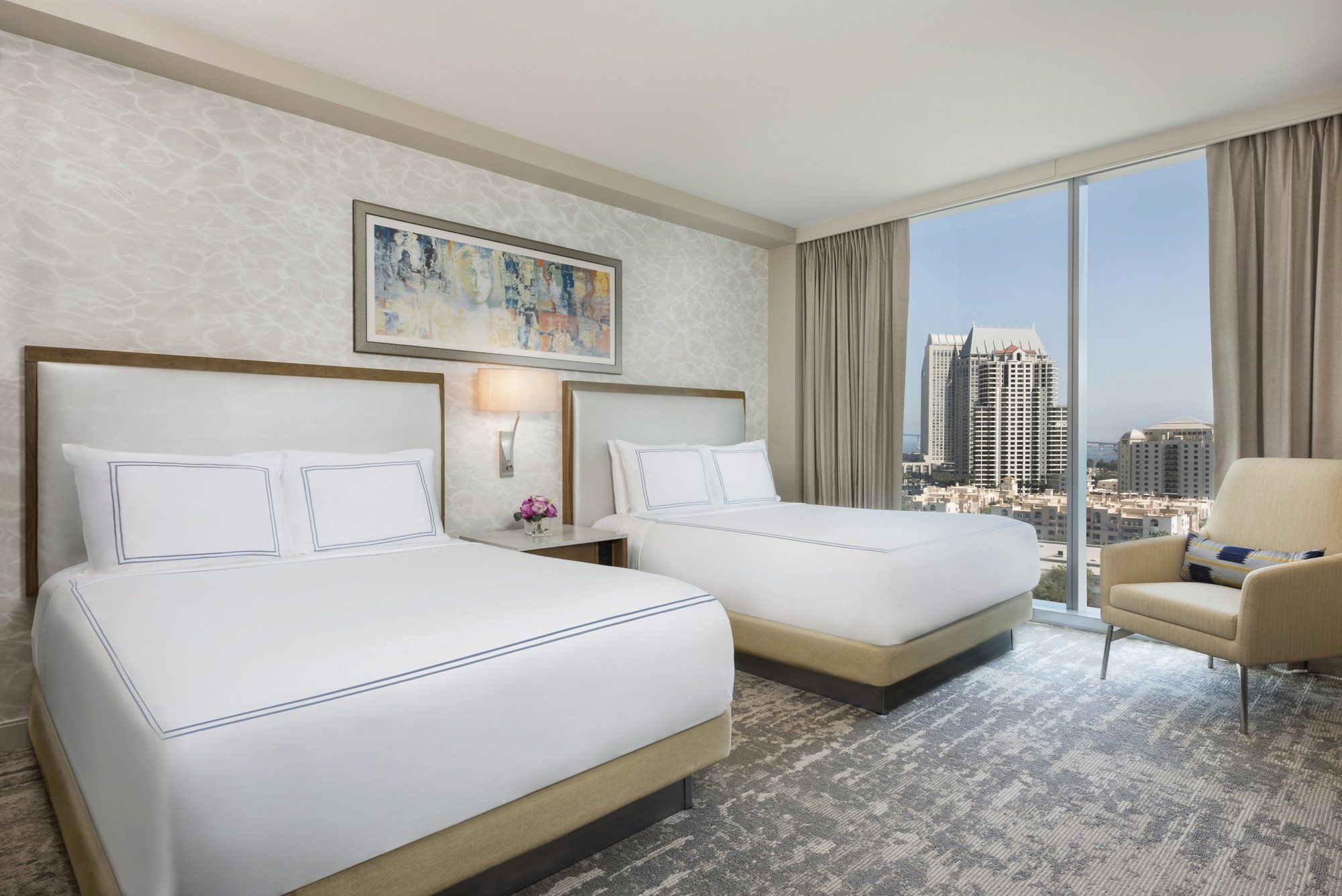 Interior of a double bed standard guest room at the InterContinental Hotel in San Diego