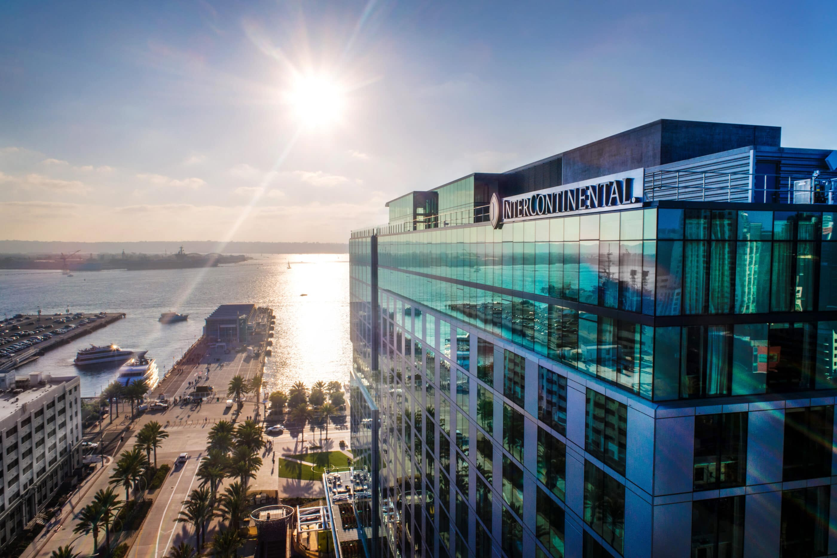 Exterior view of the InterContinental San Diego building looking out toward San Diego Bay across the street.