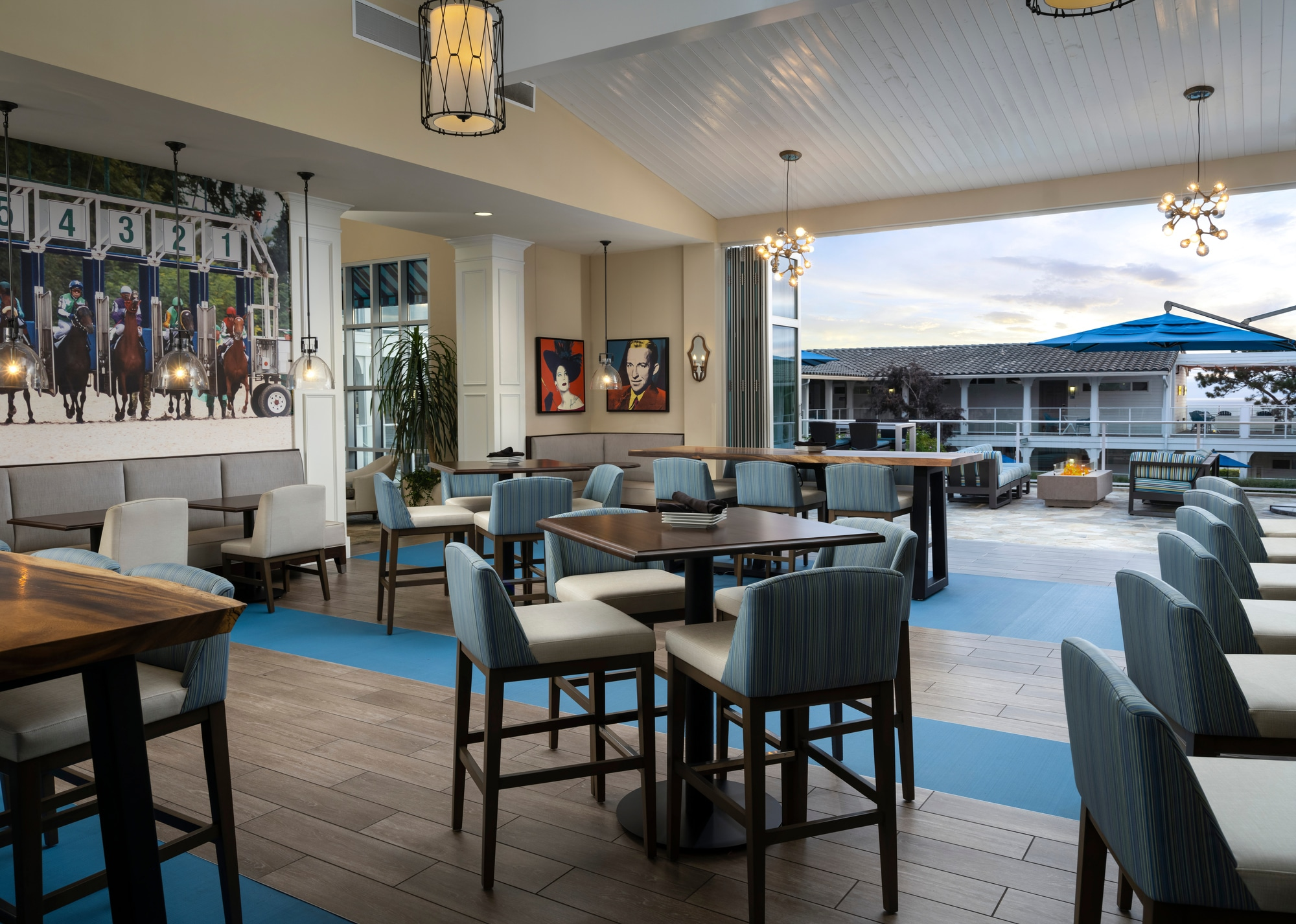 The restaurant indoor-outdoor dining and lounge area.