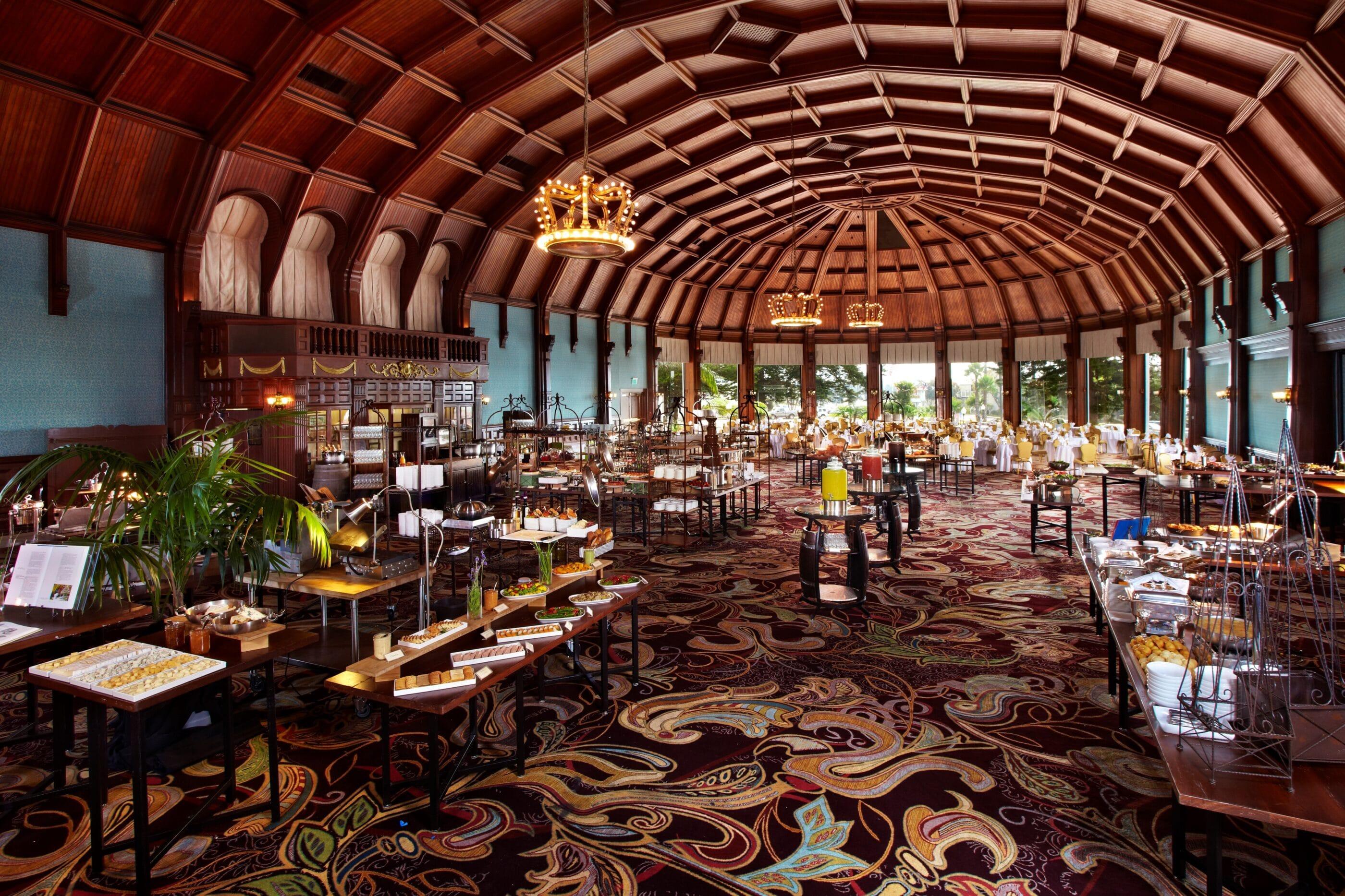 A lavish buffet at the Crown Room at Hotel del Coronado.