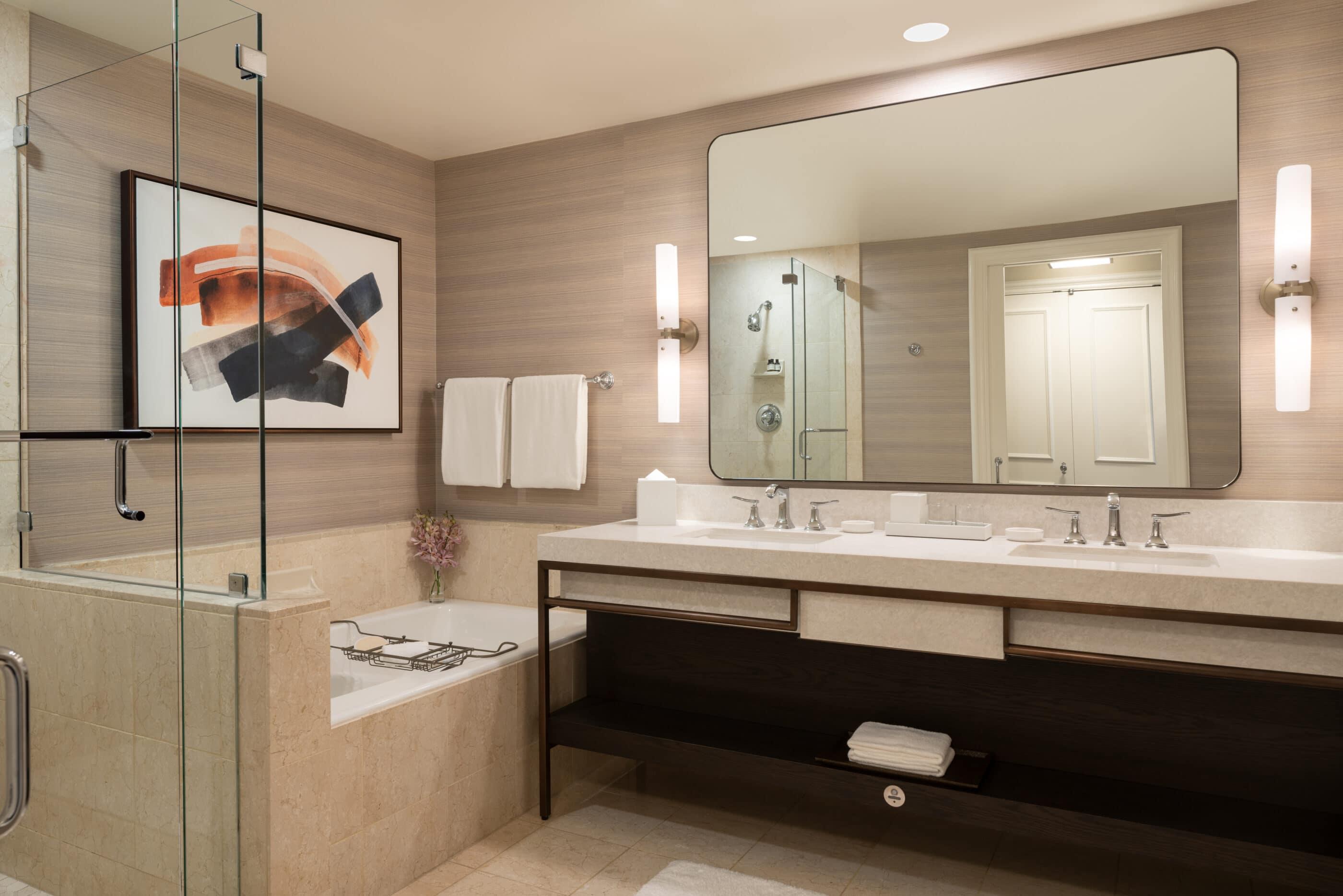 A marble bathroom in a guest room at Park Hyatt Aviara in San Diego