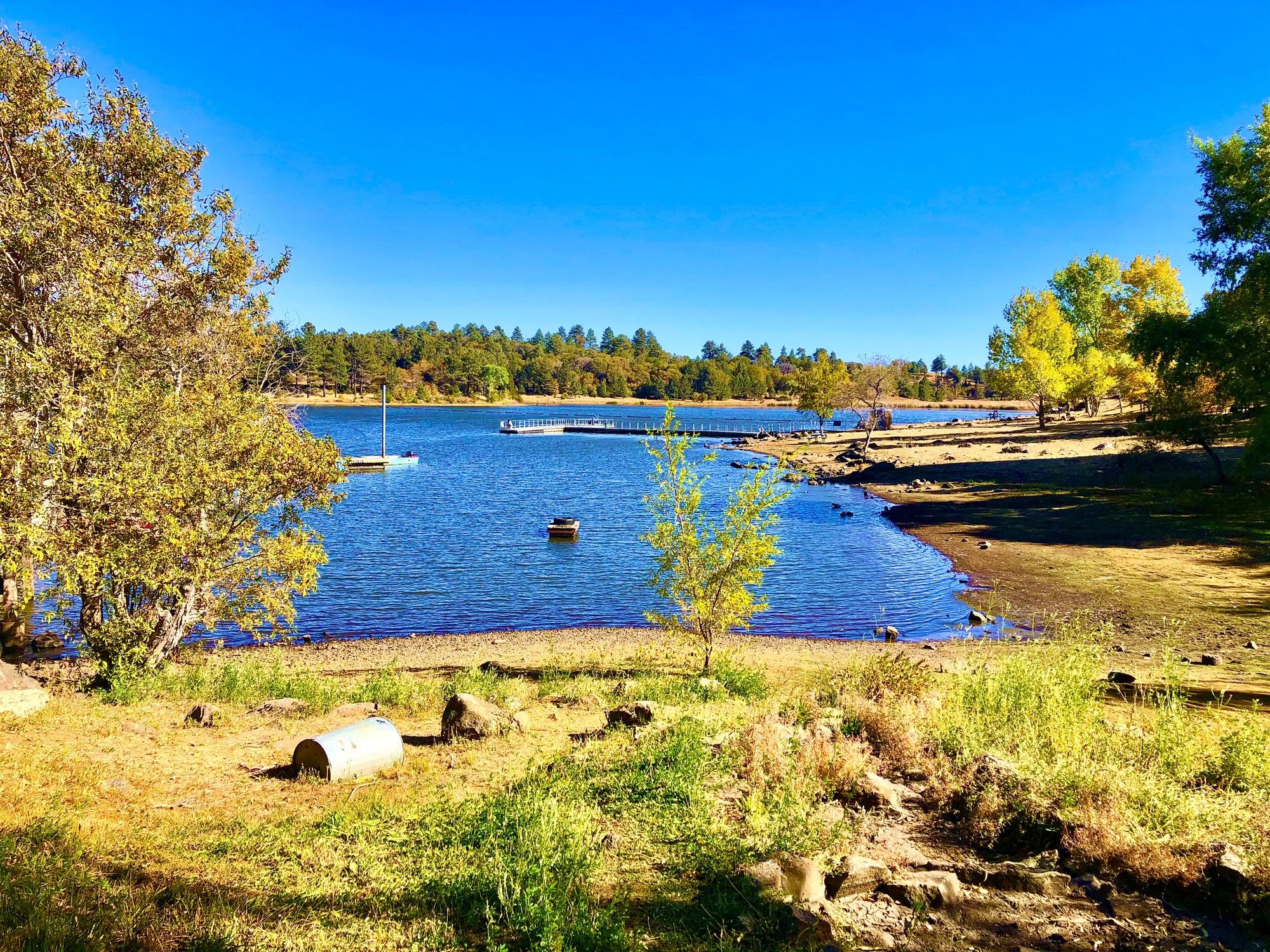 Lake Cuyamaca on a sunny day in Julian, California.