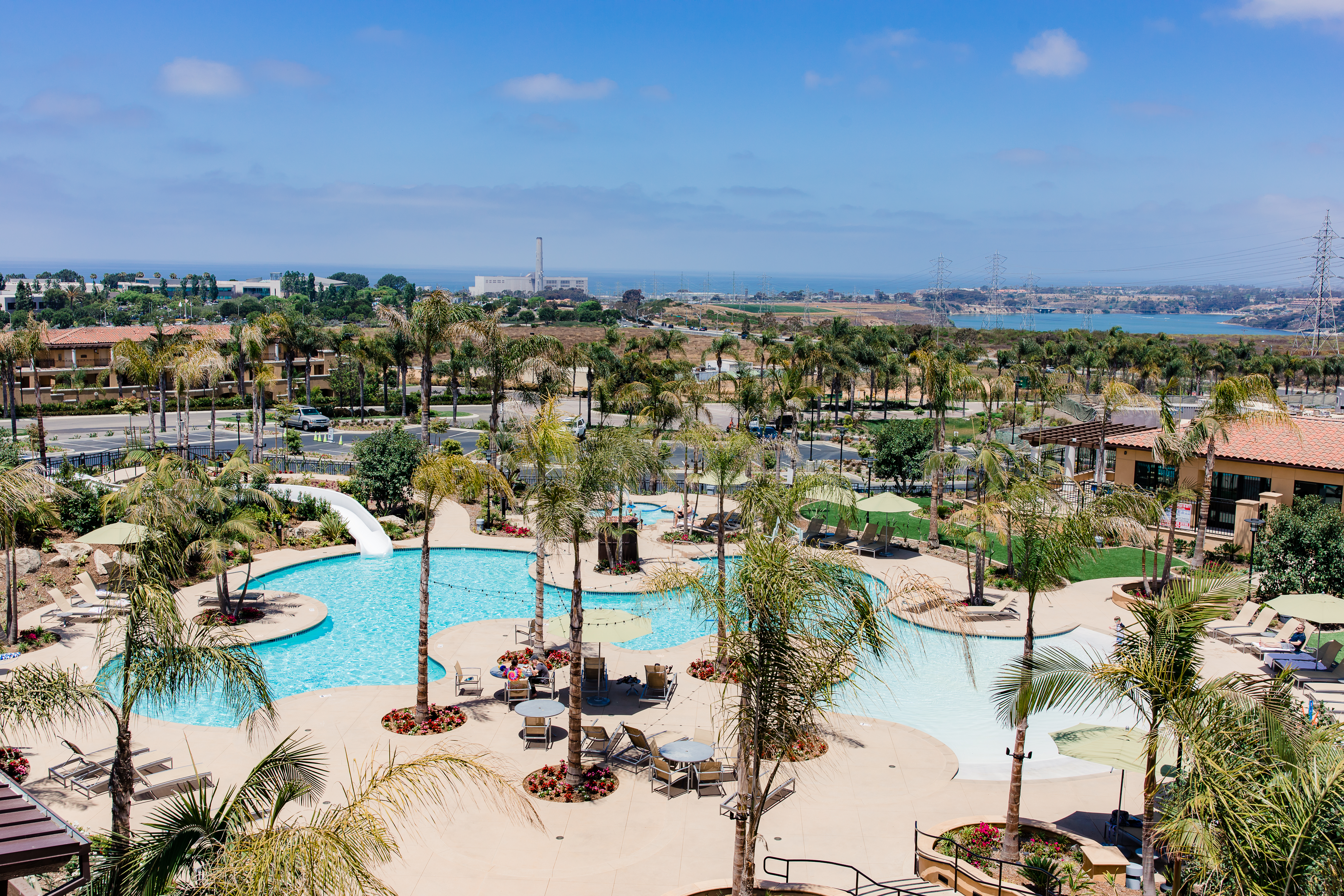 The outdoor swimming pool with water slide at Sheraton Carlsbad
