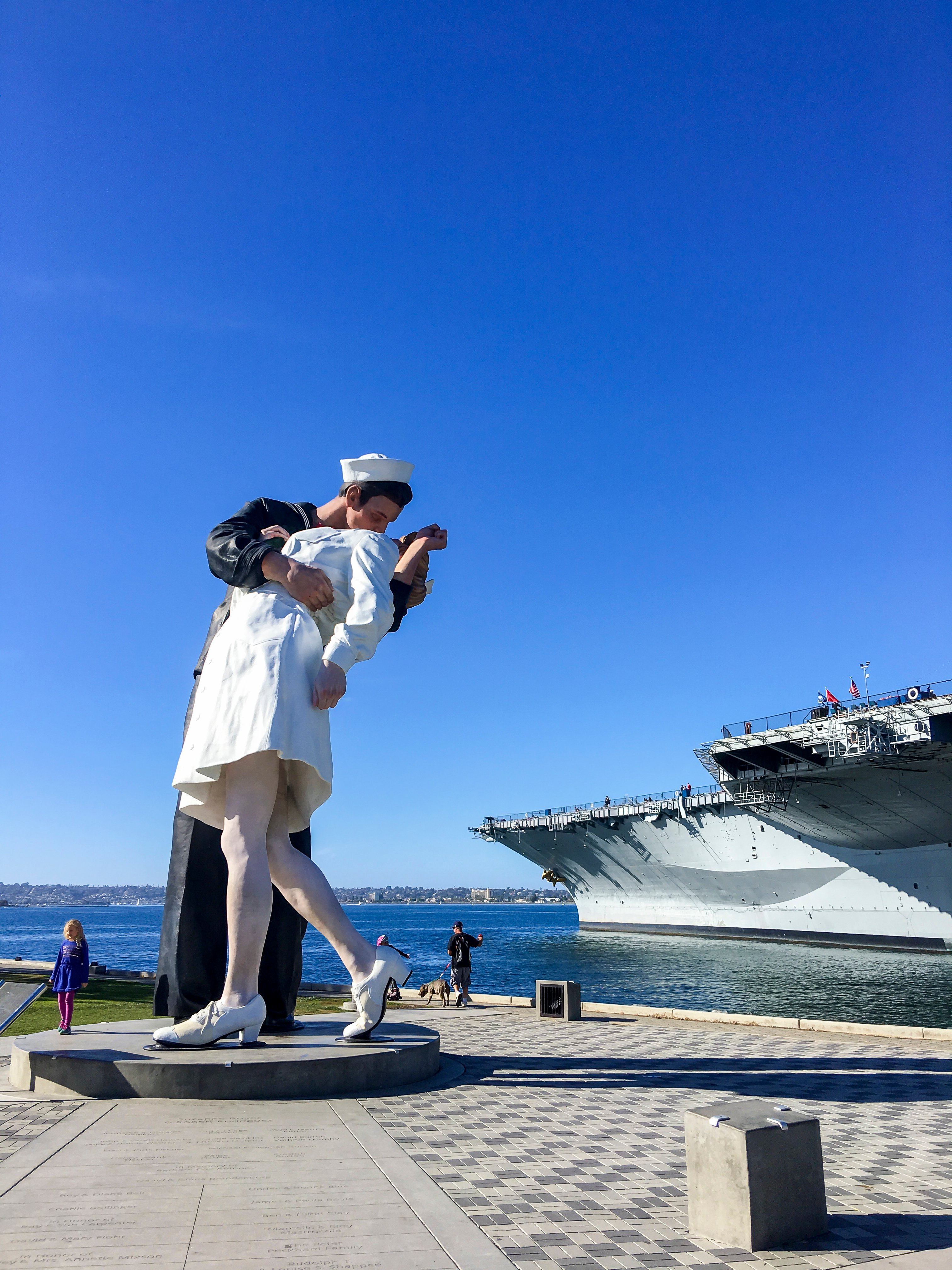 The Unconditional Surrender statue on a sunny day in downtown San Diego.