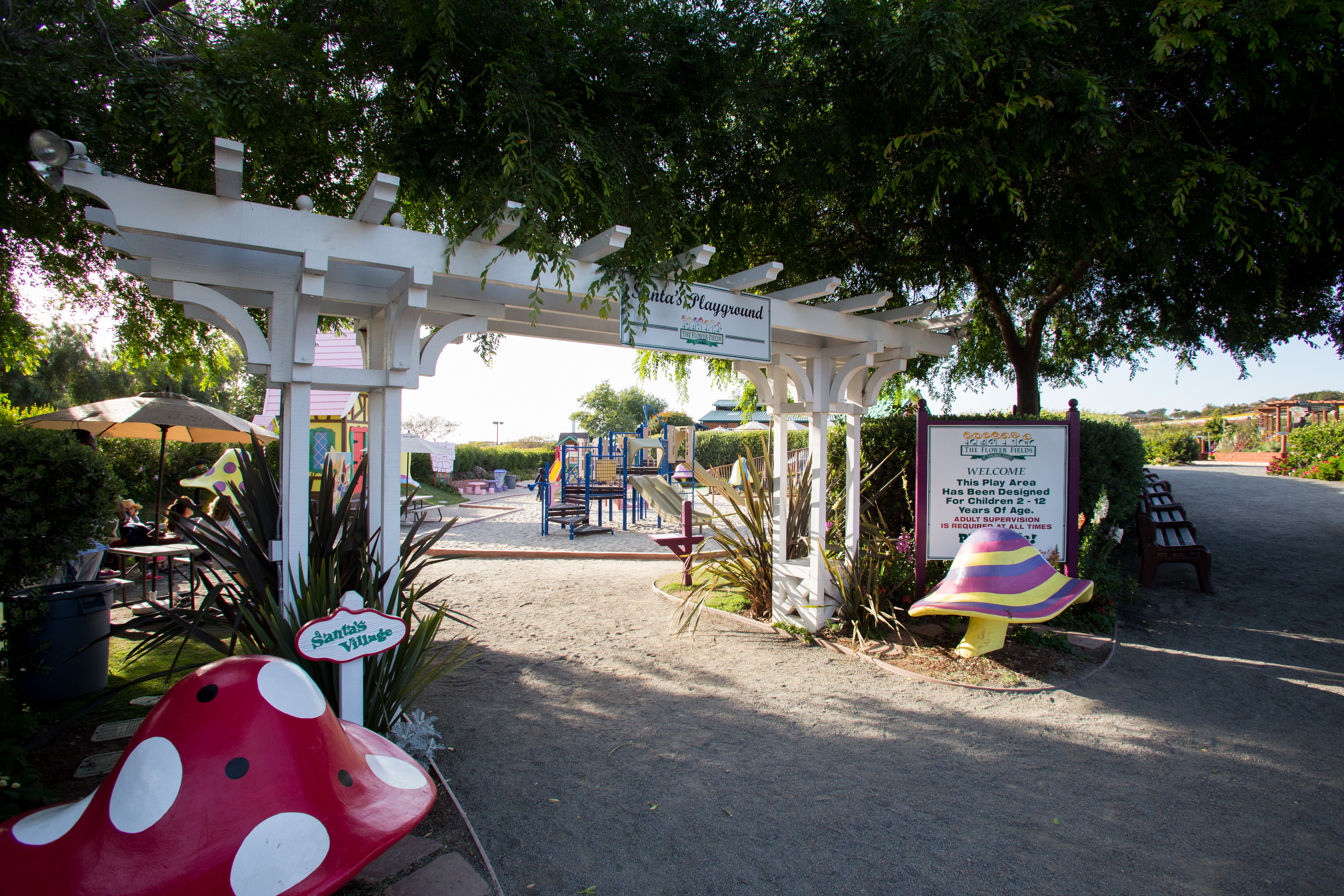 The entrance to Santa's Playground at The Flower Fields at Carlsbad Ranch.