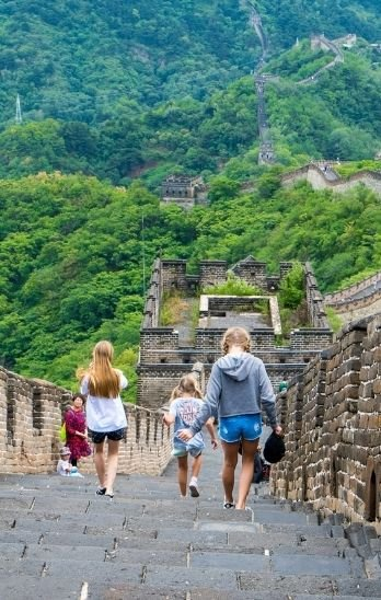 My daughter and her friends walk down the Great Wall of China at Mutianyu.