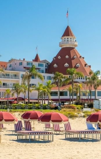 Beach chairs on the sand in front of Hotel del Coronado.