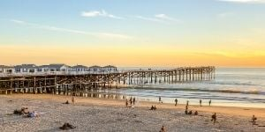 Sunset over Crystal Pier in Pacific Beach San Diego.