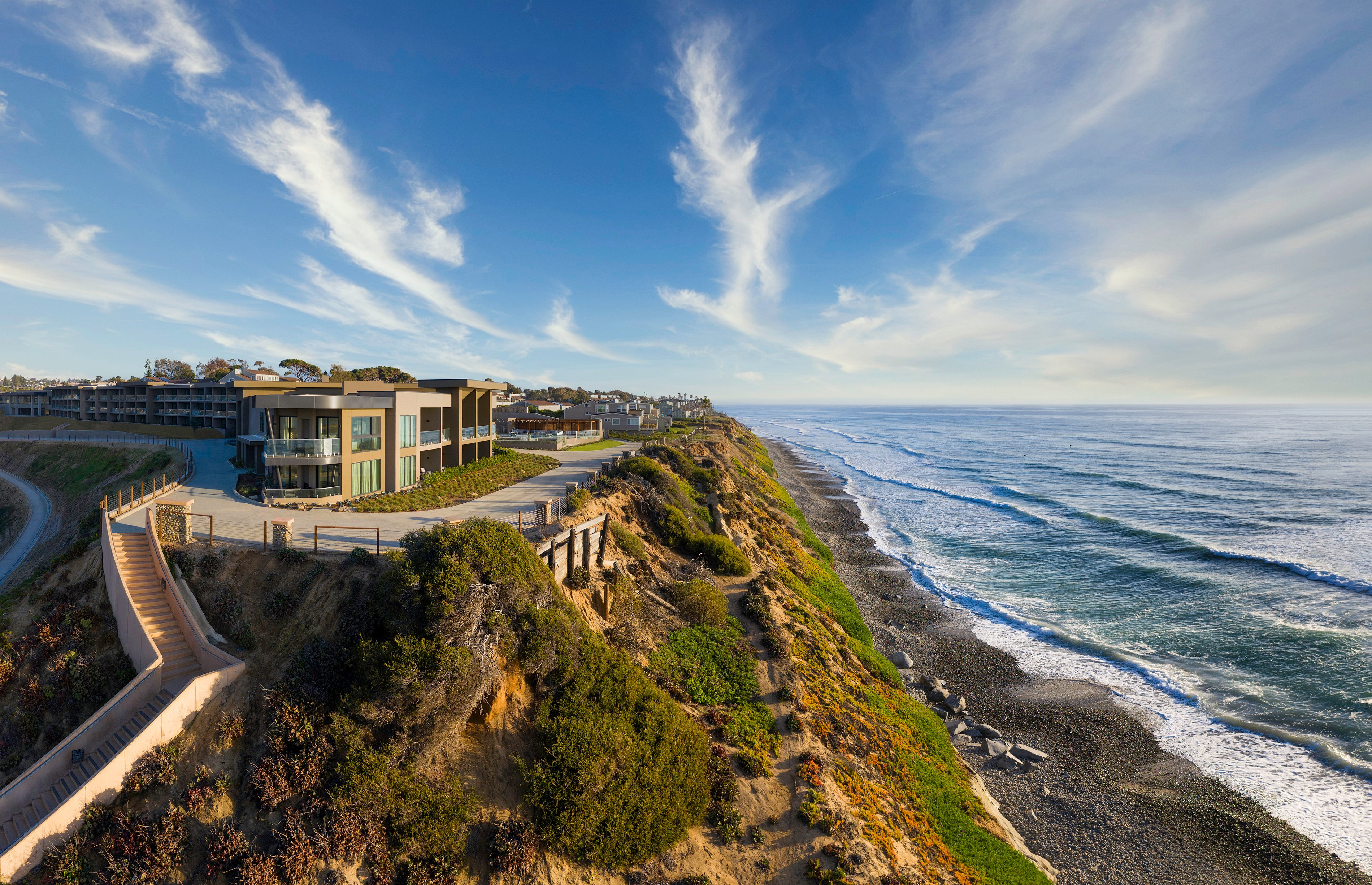 Alila Marea Beach Resort sits on the bluffs of Encinitas above the beach.