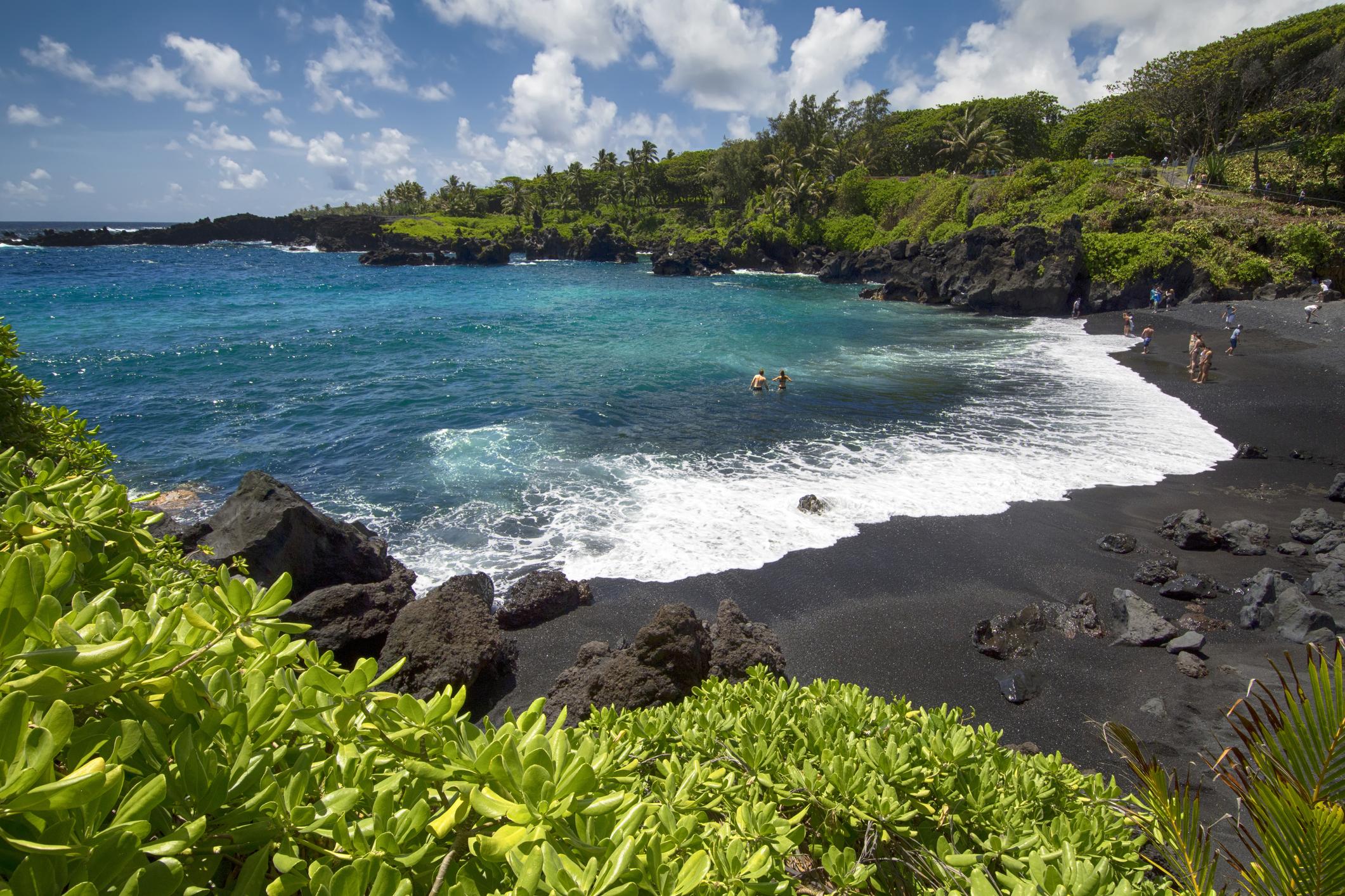 A black sand beach in Maui
