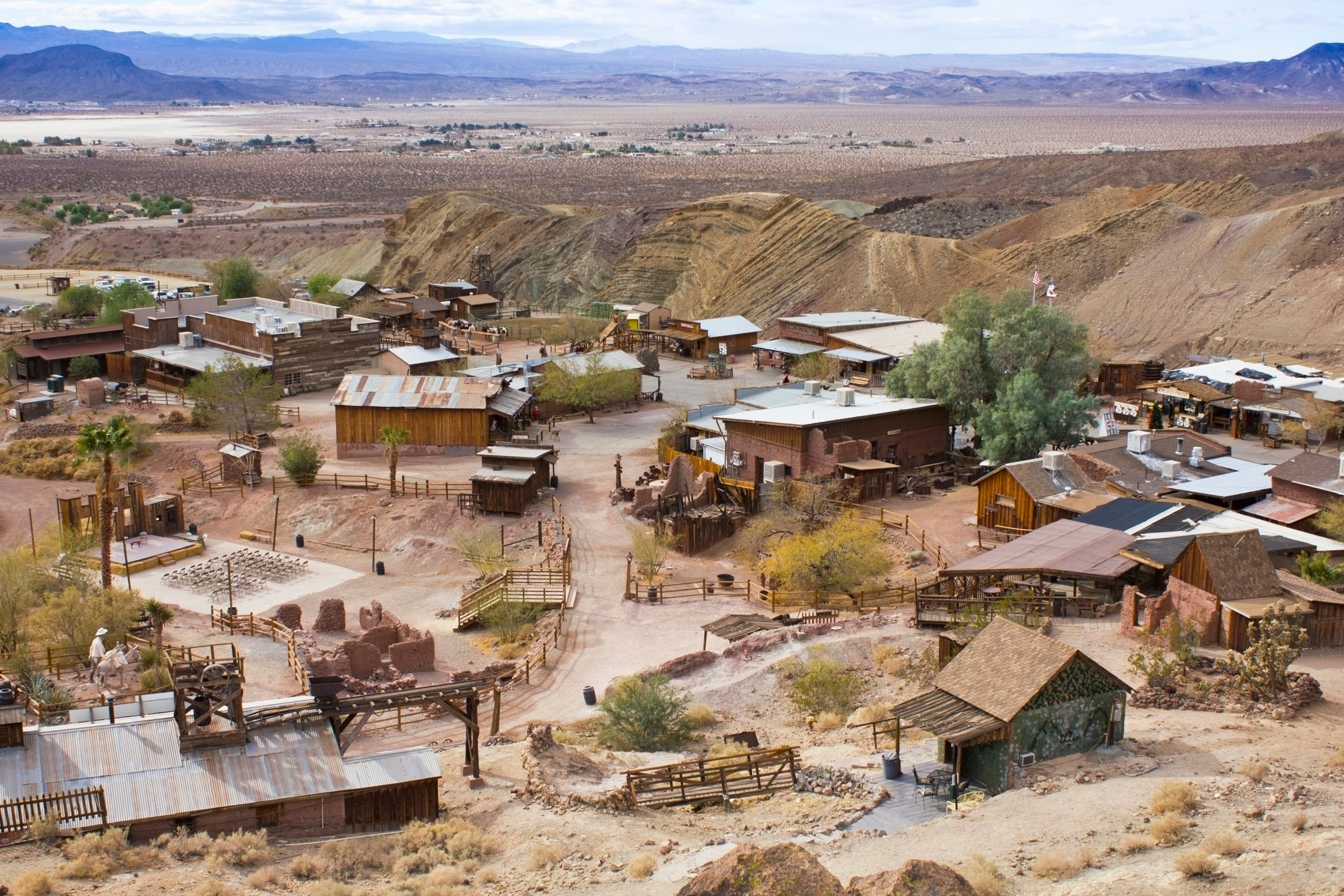 Aerial view of the buildings in Calico Ghost Town.