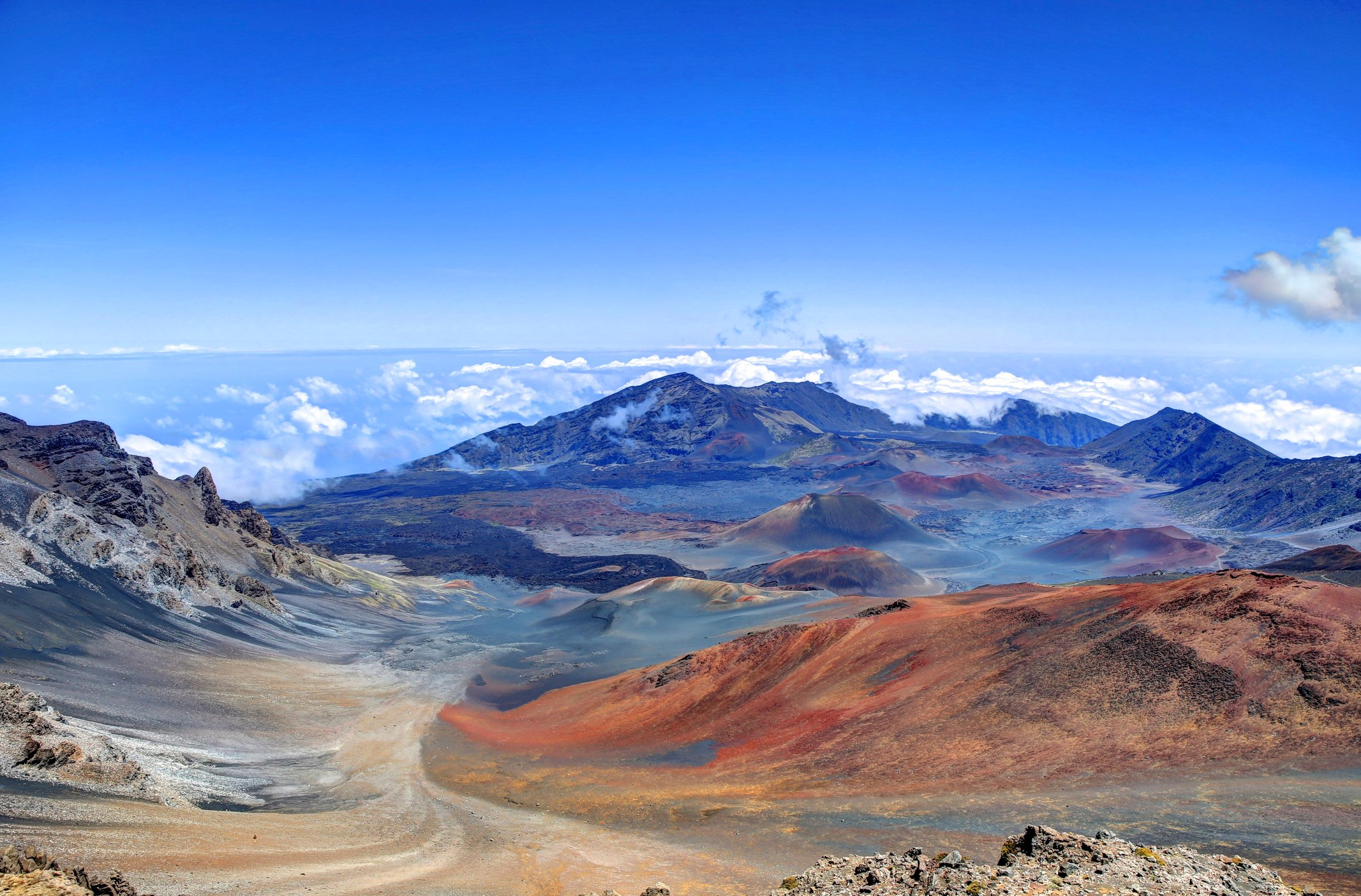 A look at the Haleakala volcano crater from above.