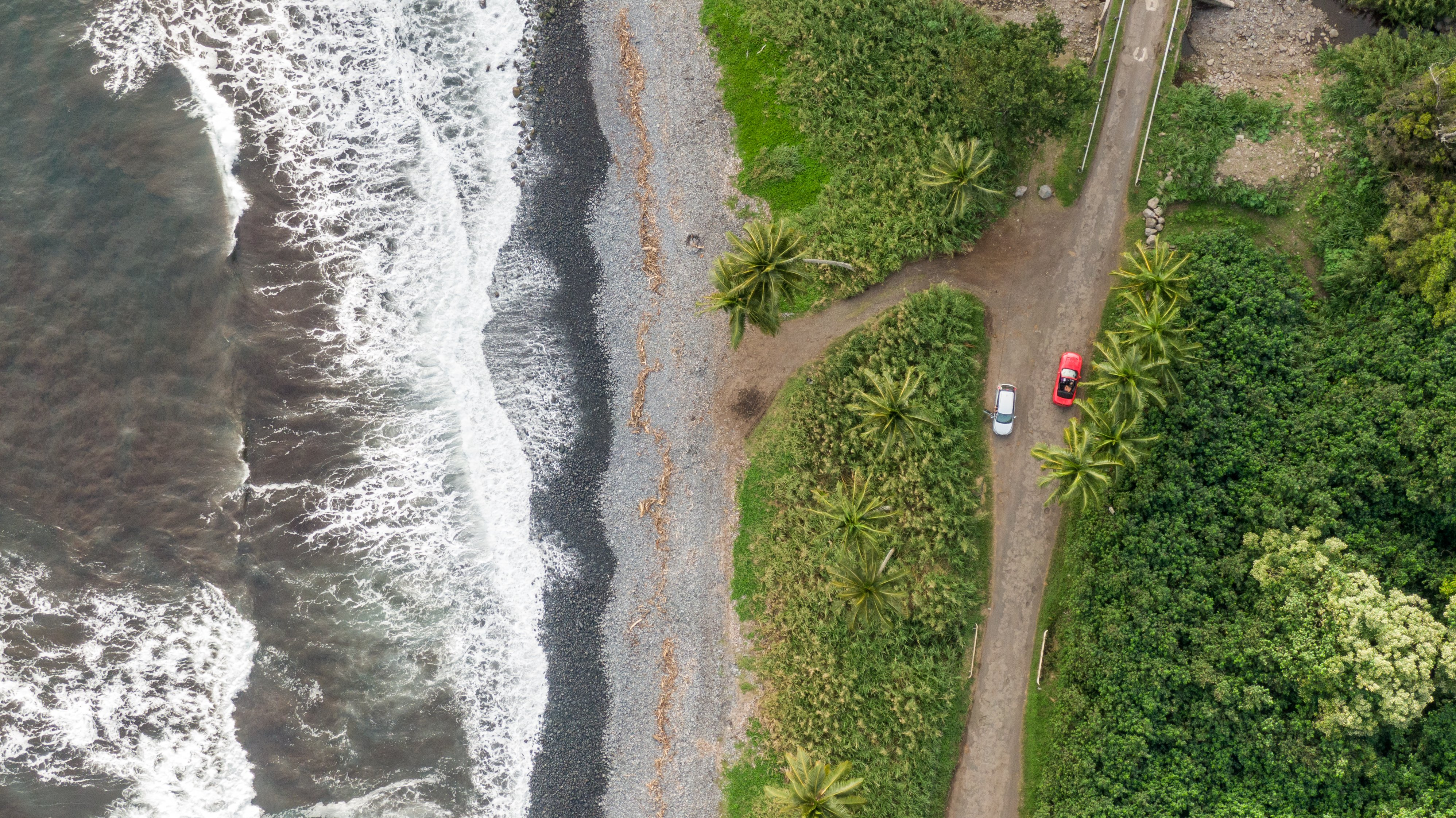 Aerial view of the Road to Hana on Maui.