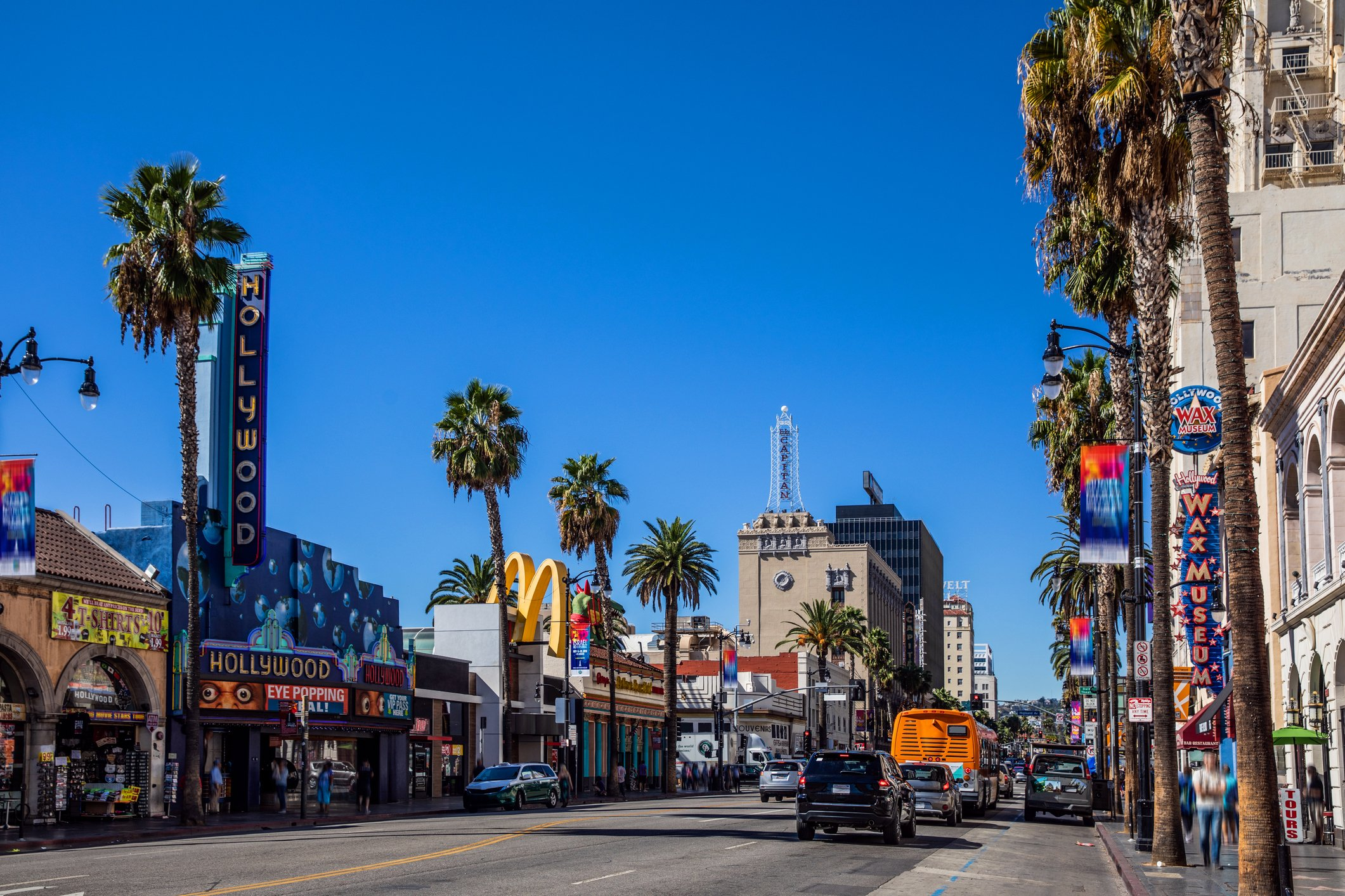 A view down Hollywood Boulevard on a sunny day.