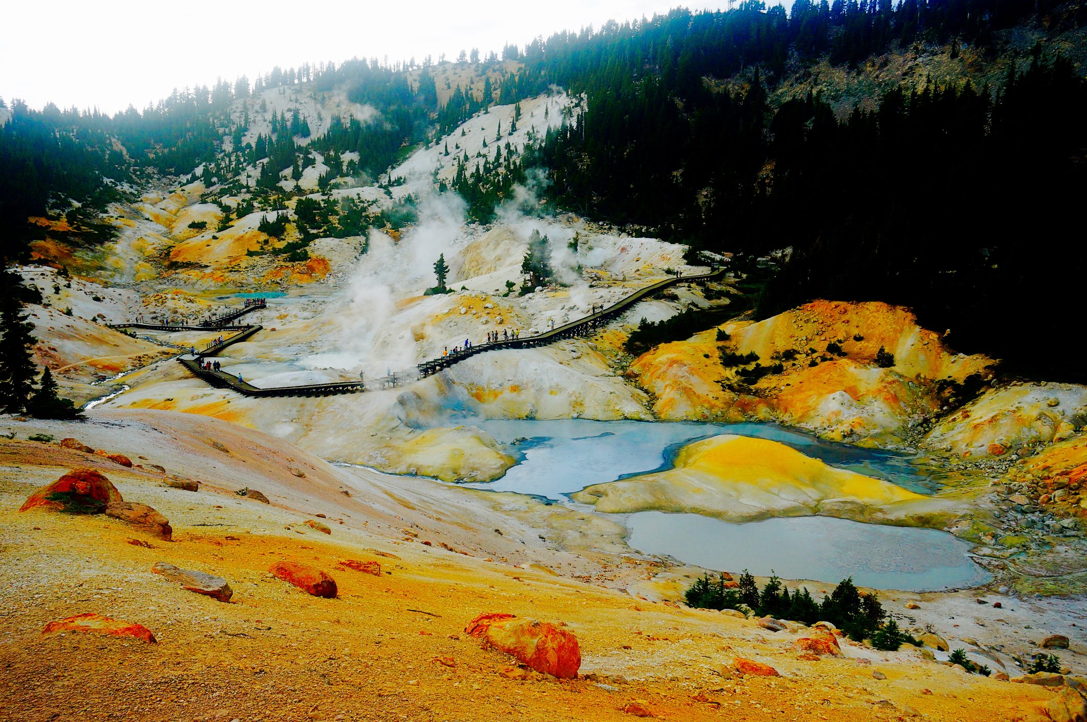 Steam is released from the Lassen hydrothermal system in the Bumpass Hell area.