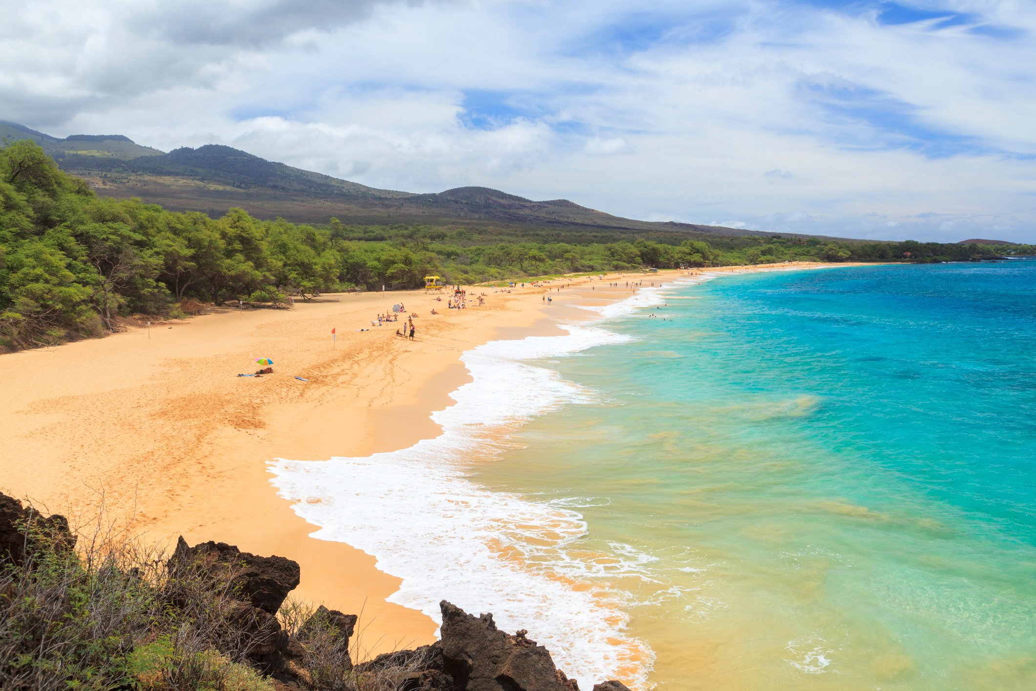 Clear water and sandy beach at Makena State Beach.