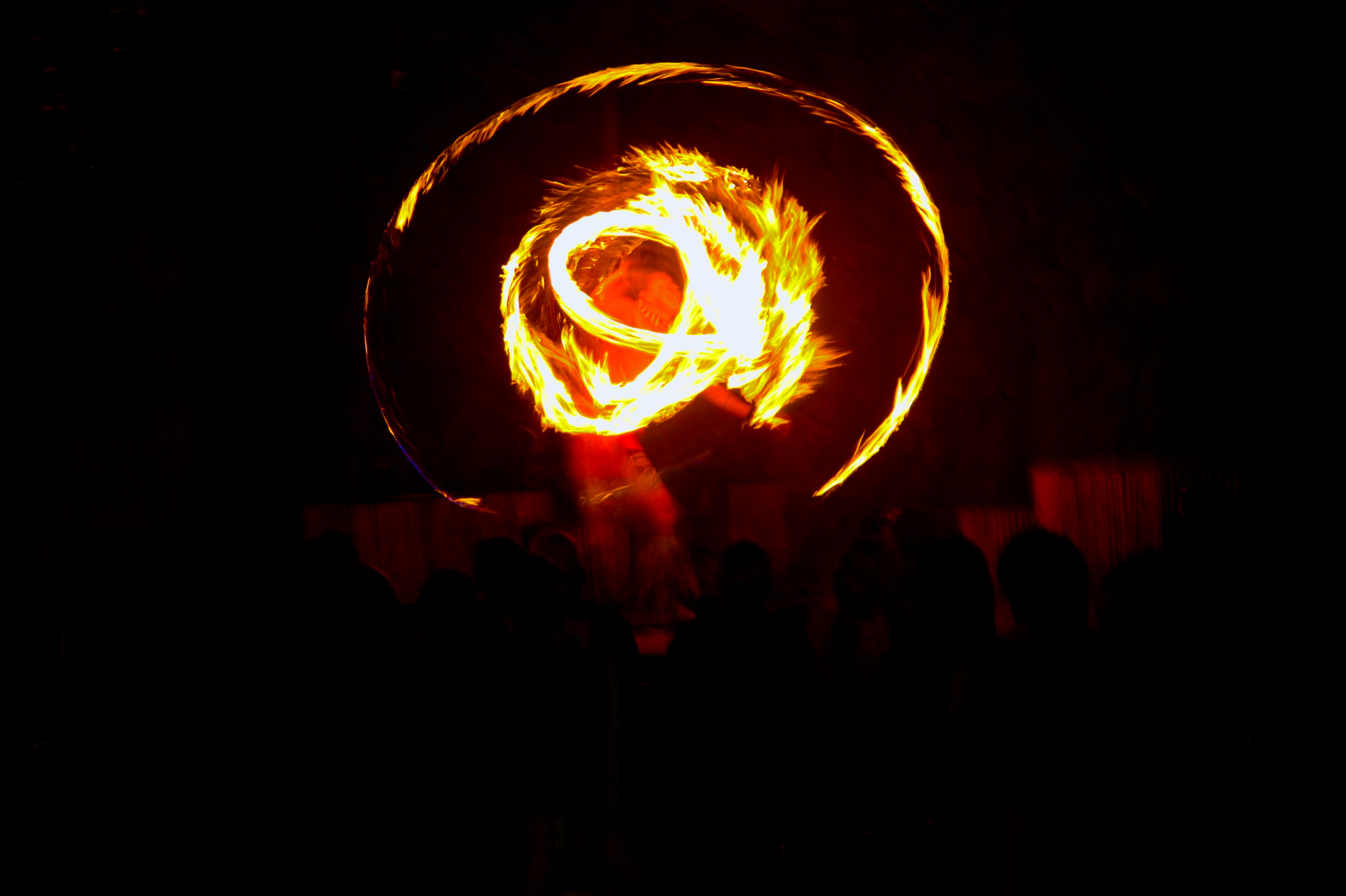 A fire dancer performs at a luau in Maui.