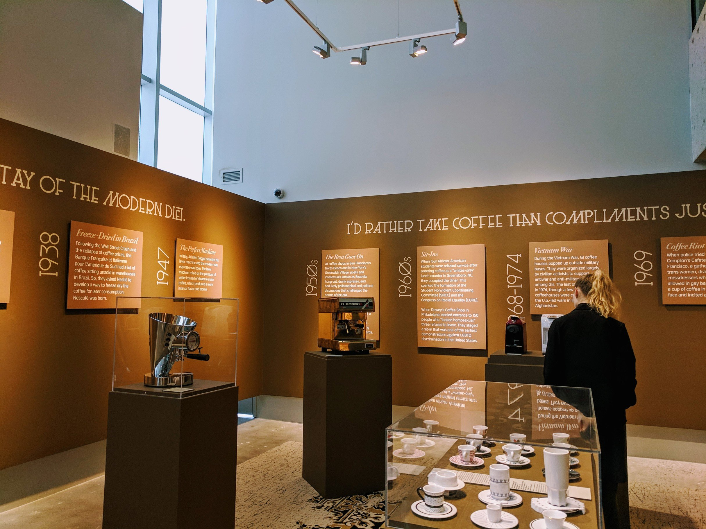A display about coffee and the modern diet at MODA.